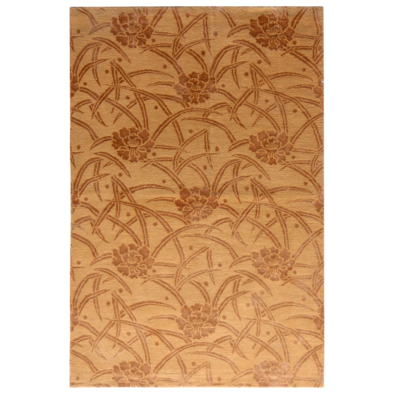 European-Style Rug Beige Brown Floral Pattern by Rug & Kilim