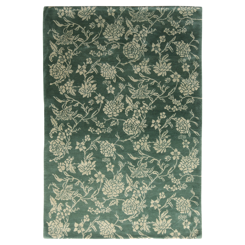 European Style Rug Green Beige Floral Pattern by Rug & Kilim