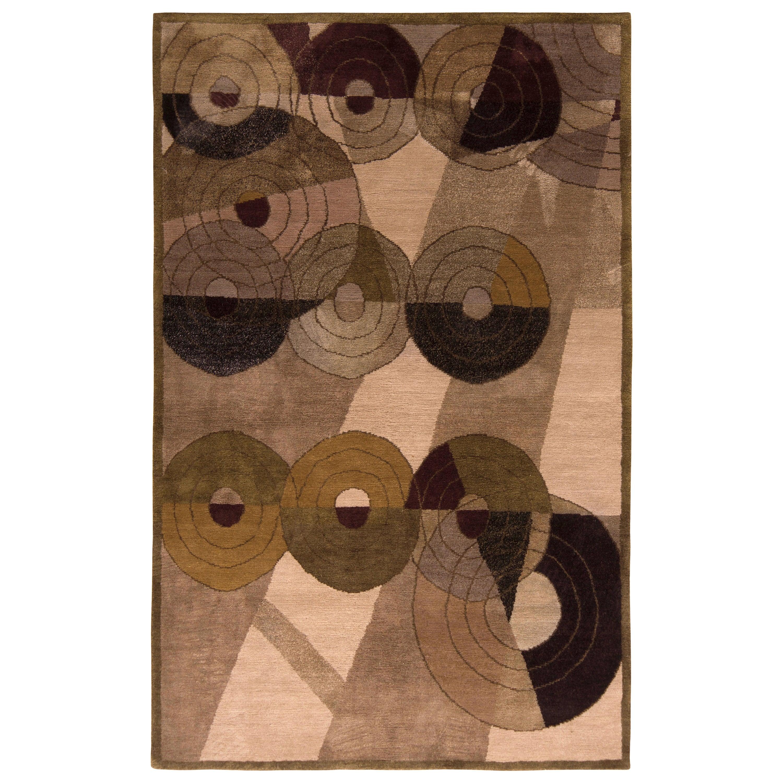 French Art Deco Style Rug Beige Brown Custom Pattern by Rug & Kilim