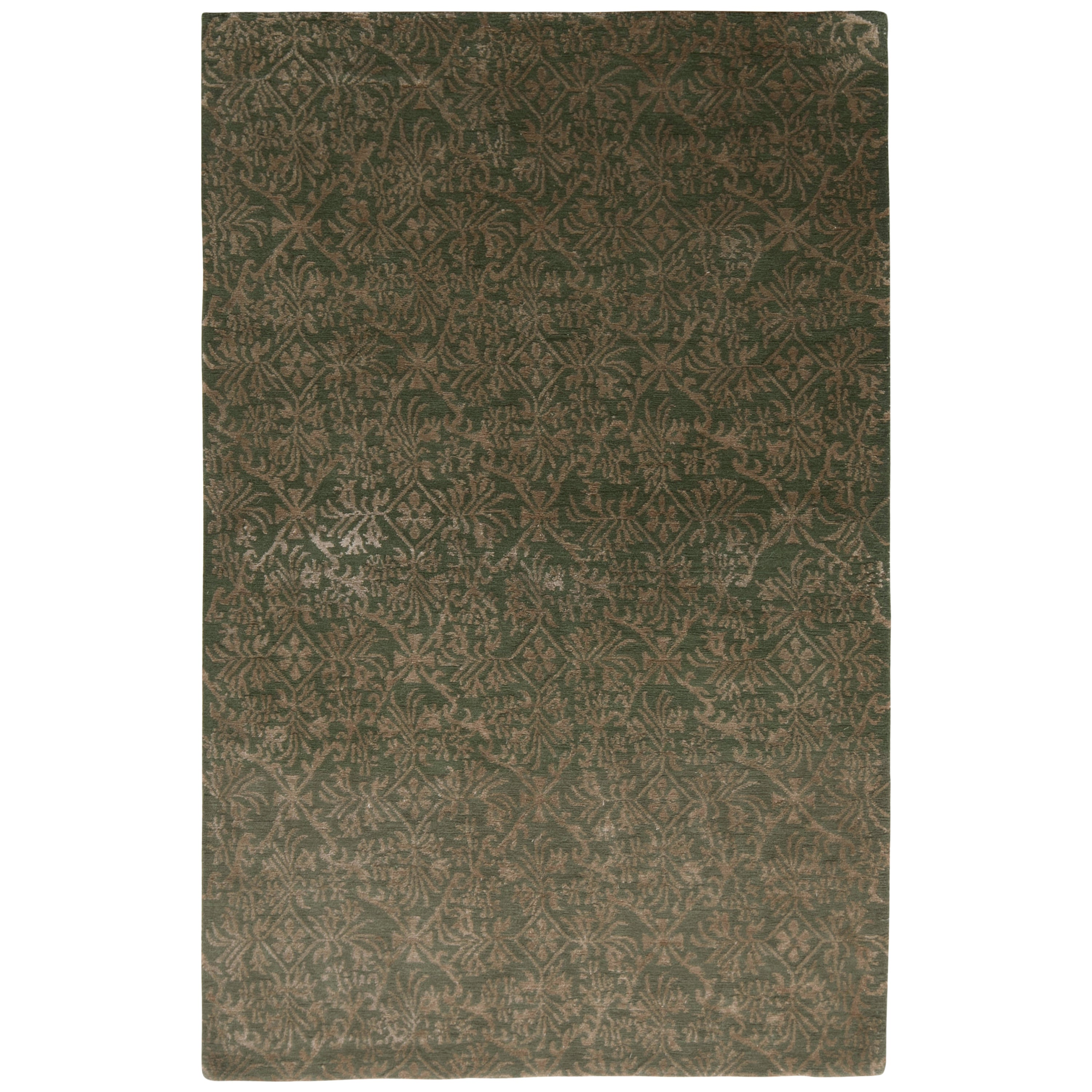 Hand Knotted European Style Rug Beige-Brown Green Floral Pattern by Rug & Kilim
