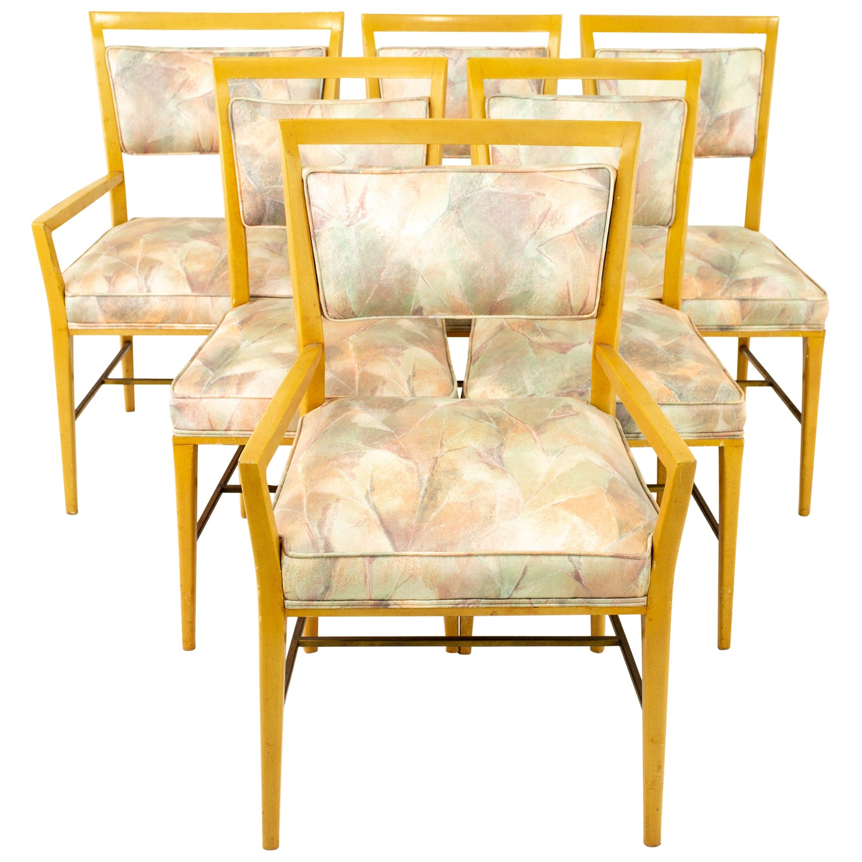 Paul McCobb Mid Century Blonde Upholstered Dining Chairs, Set of 6