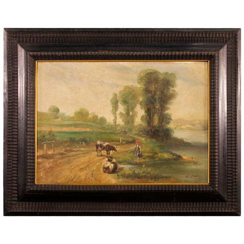 20th Century Oil on Canvas French Signed Bucolic Landscape Painting, 1960