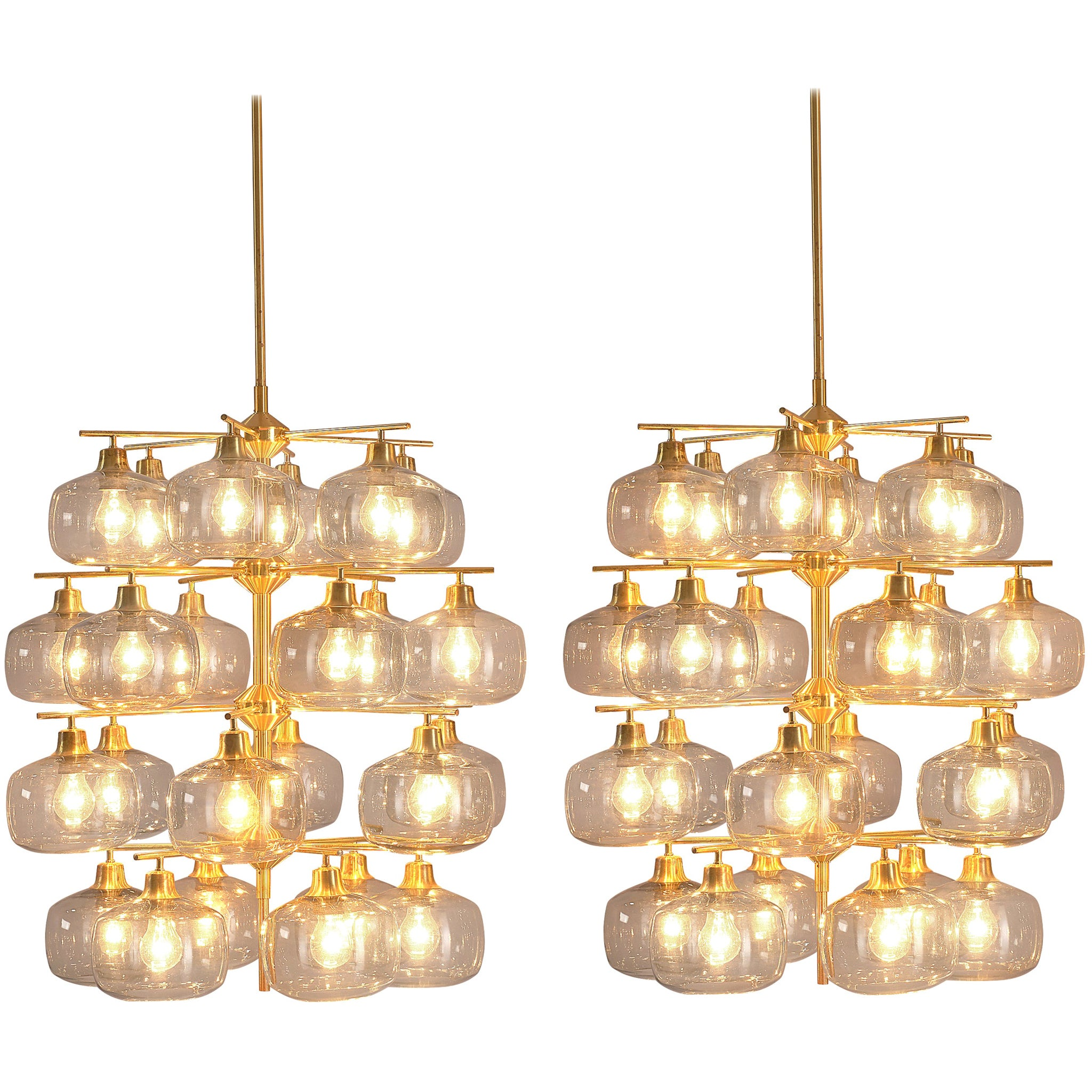 Pair of Swedish Chandeliers by Holger Johansson, 1952