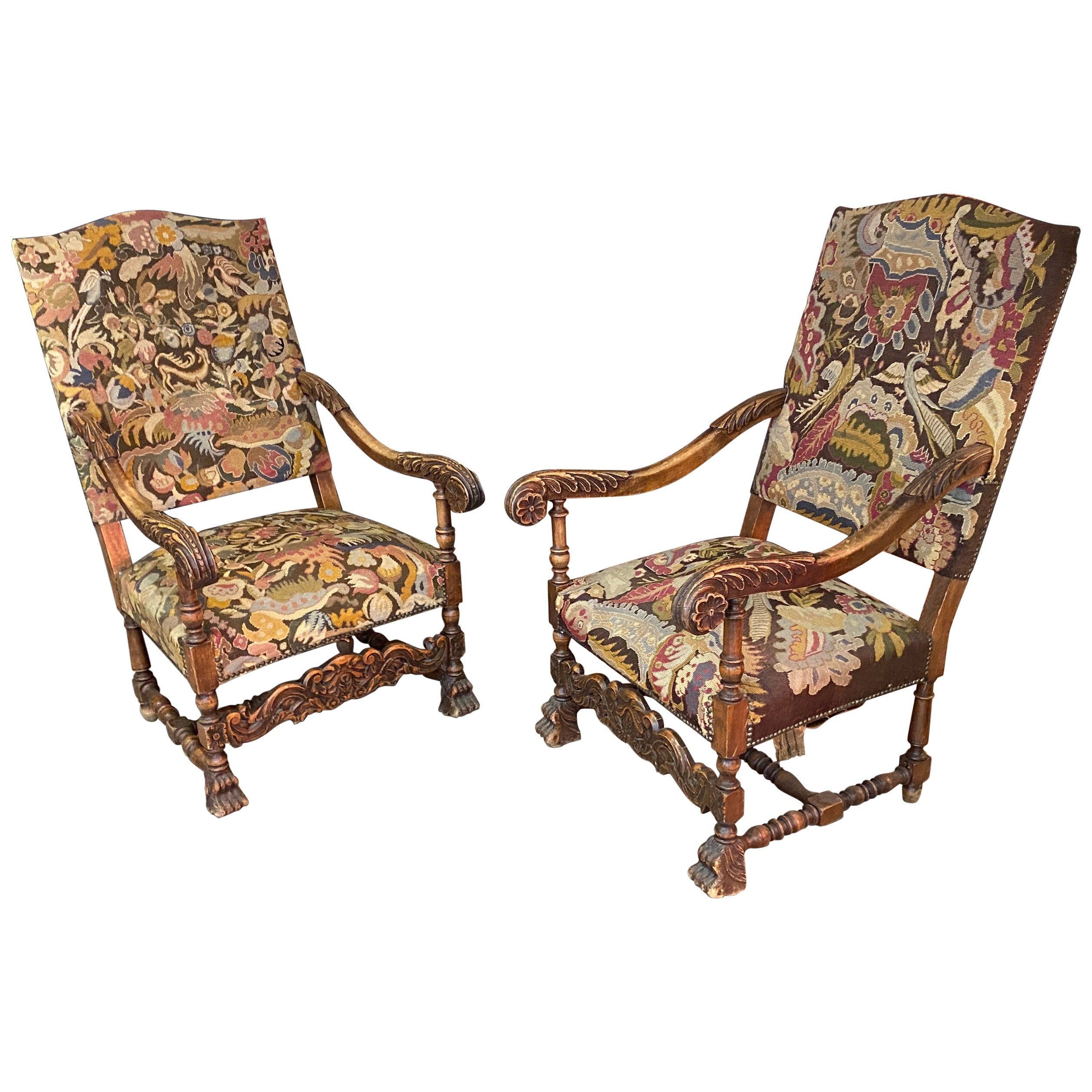two Louis XIII Style Armchairs, circa 1900