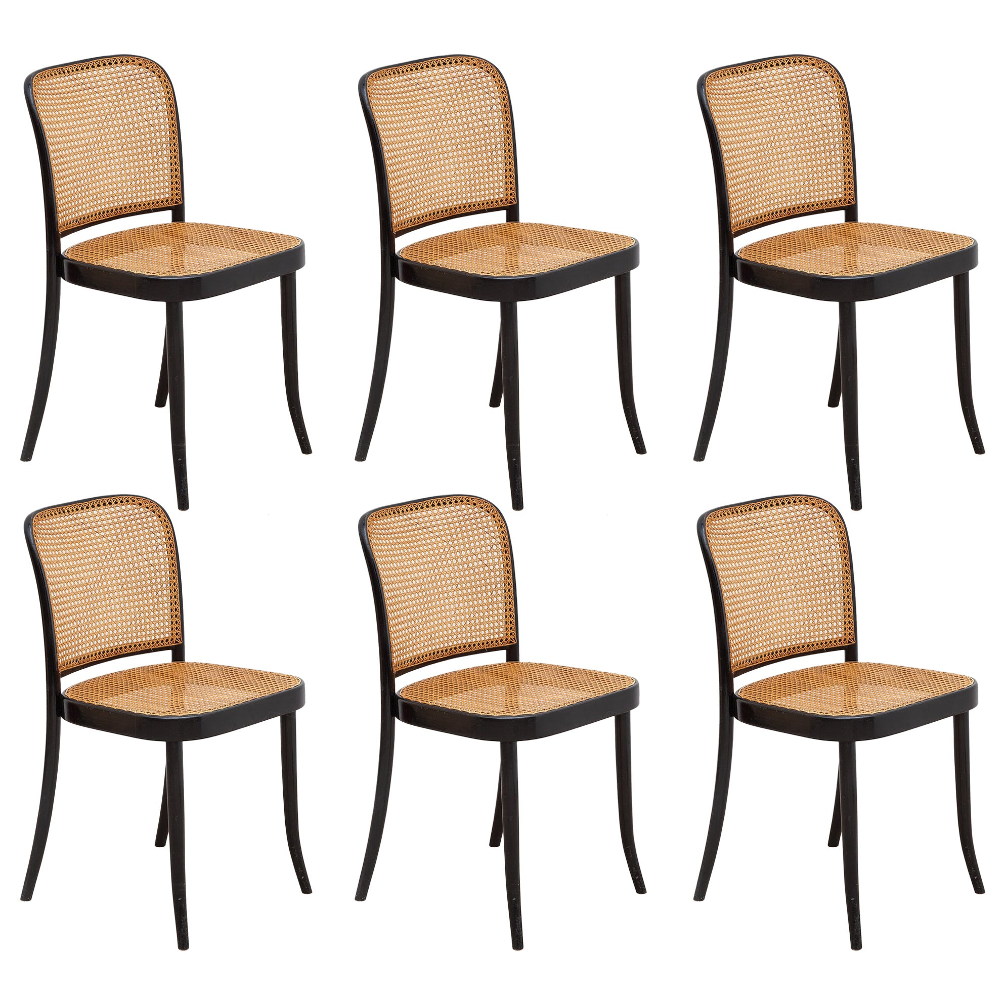 Set of Six Bentwood Cane Dining Chairs Designed by Josef Hoffman for Thonet