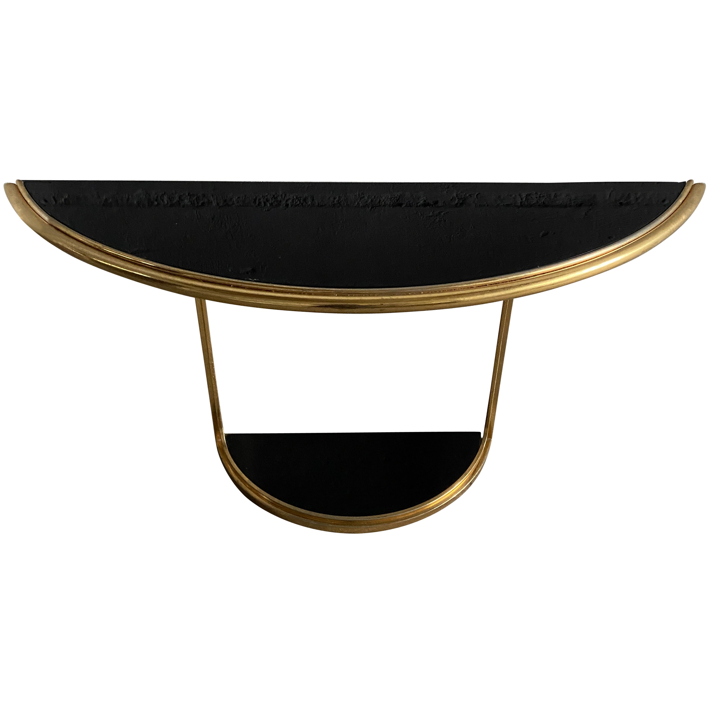 Mid-Century Modern Italian Gilt Metal Console Table with Black Glass, 1970s