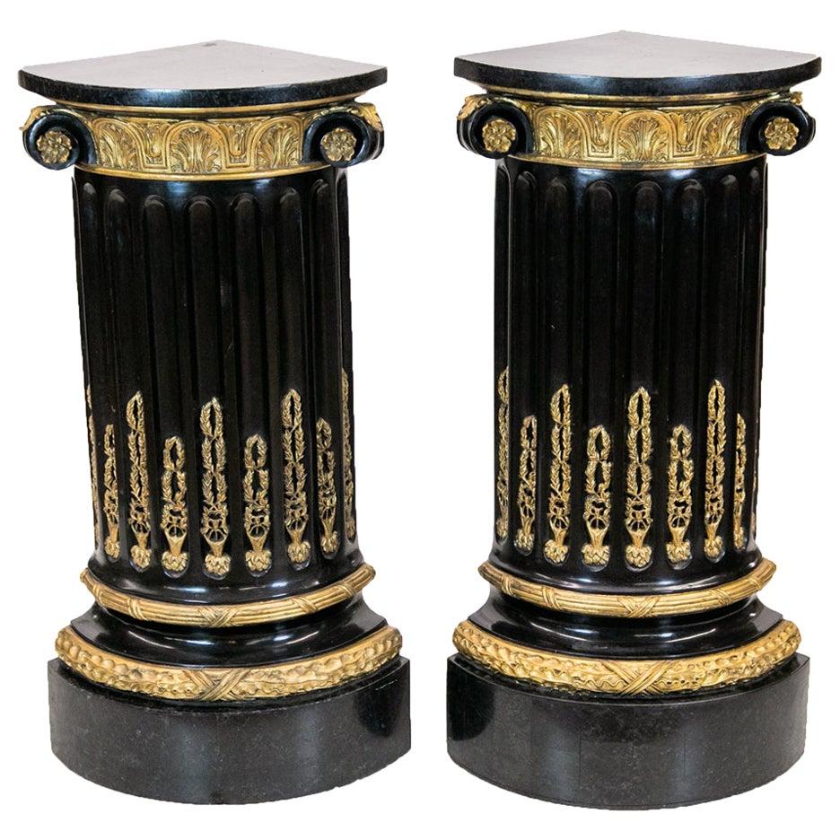 Pair of Marble Quarter Column Pedestals