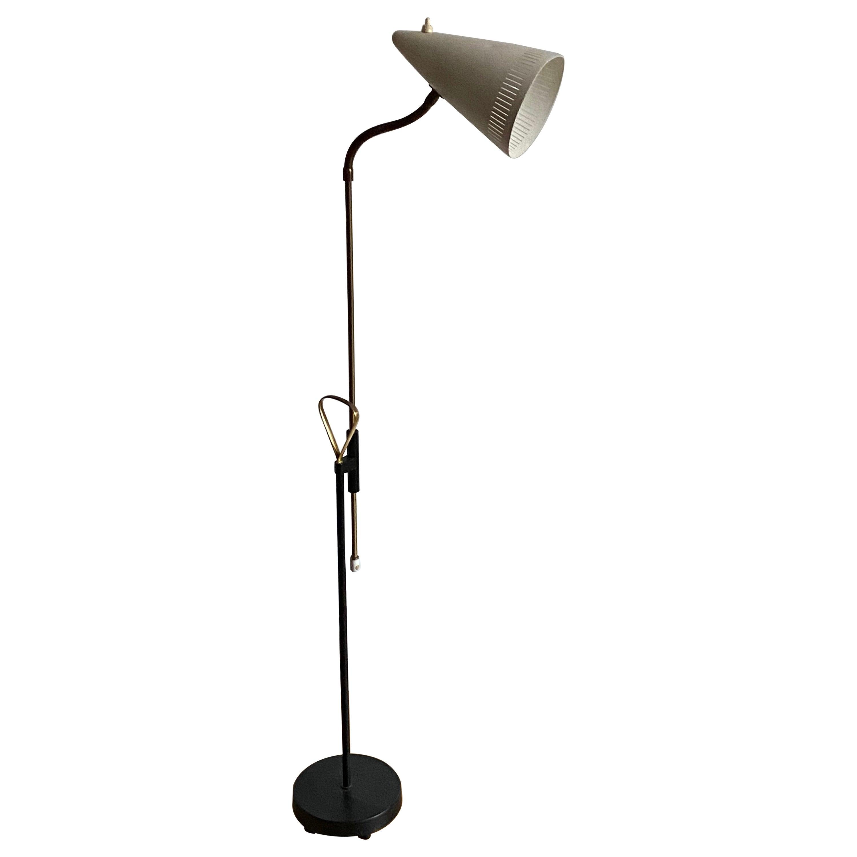 Ewå Värnamo, Adjustable Floor Lamp, Brass, Lacquered Metal, Sweden, 1950s