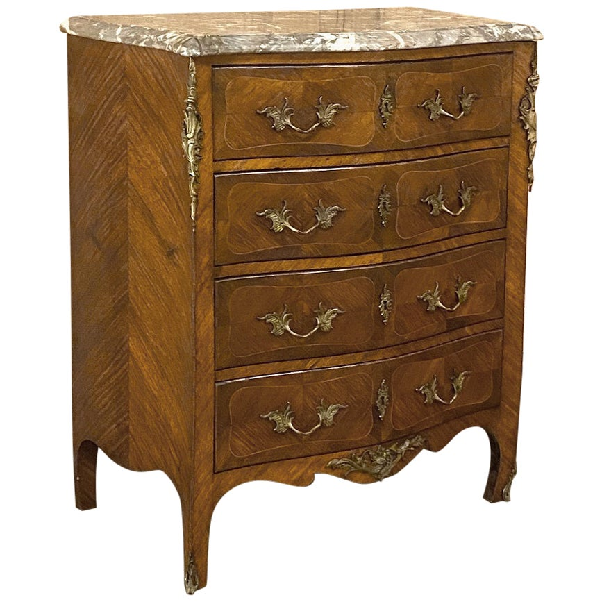 19th Century French Louis XV Marquetry Marble-Top Serpentine Commode