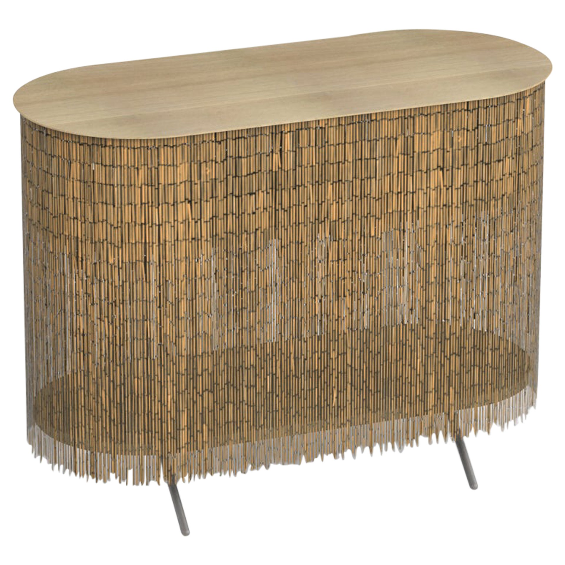 """Keefer Credenza, Calen Knauf, Natural Bamboo Beaded Console Table Oak - 40"""""""