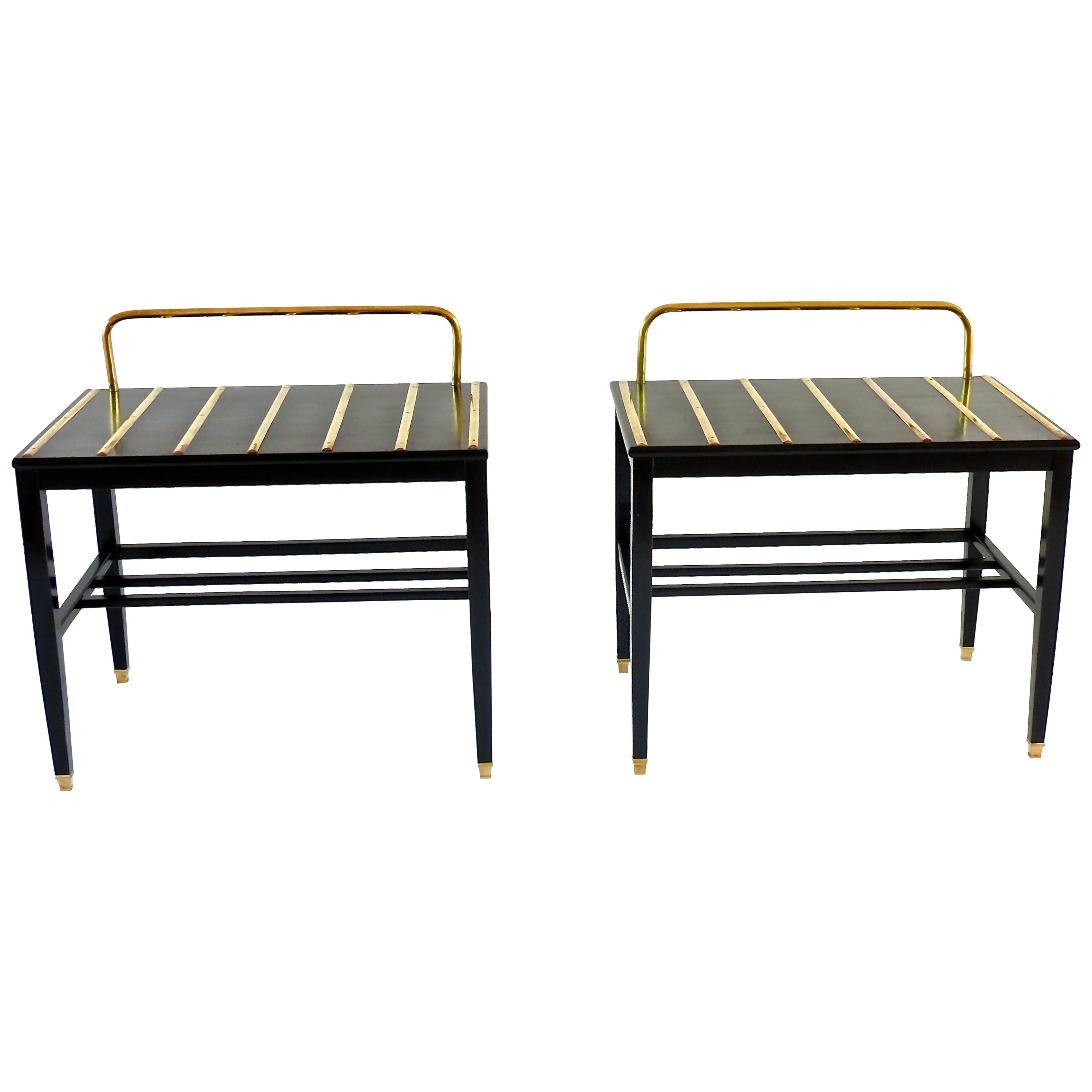 Pair of Gio Ponti Black Walnut Lacquered Side Tables from Hotel Royal Naples