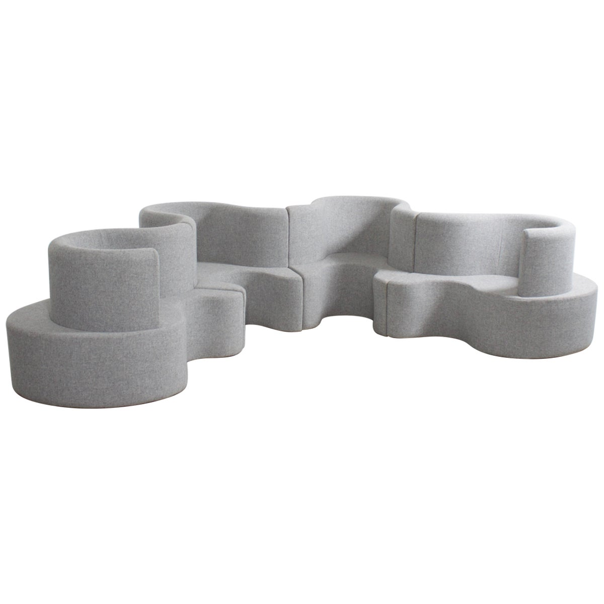 Impressive Clover Leaf Sectional Sofa by Verner Panton in Grey Fabric
