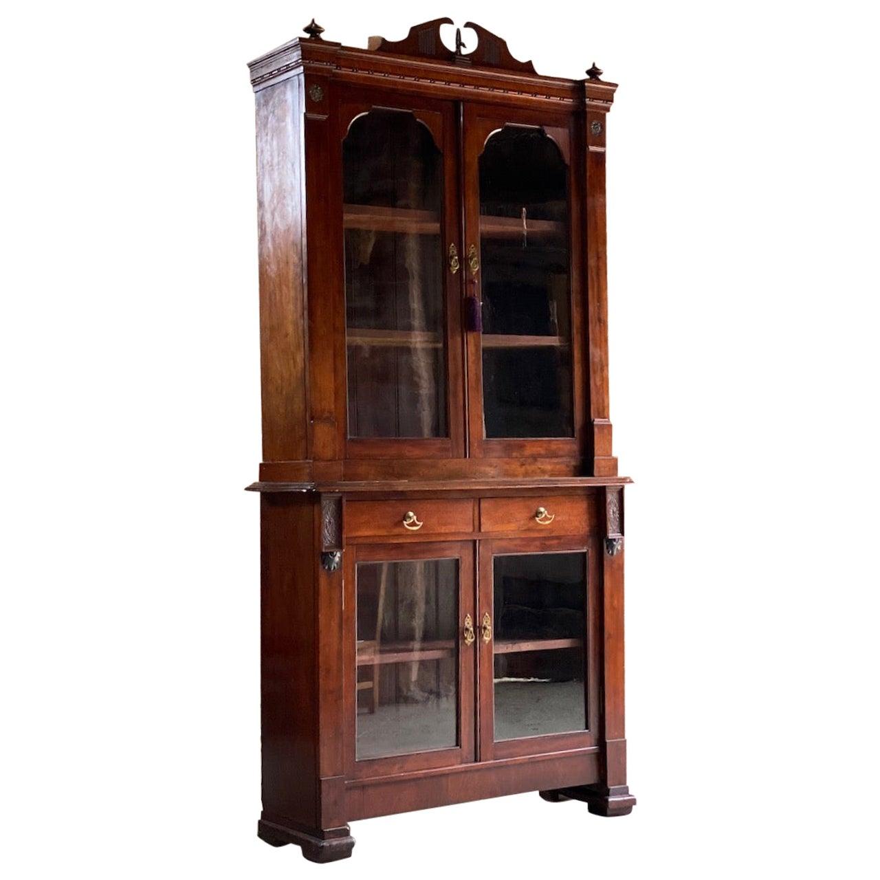 Antique Mahogany Glazed Library Bookcase Victorian 19th Century, circa 1870
