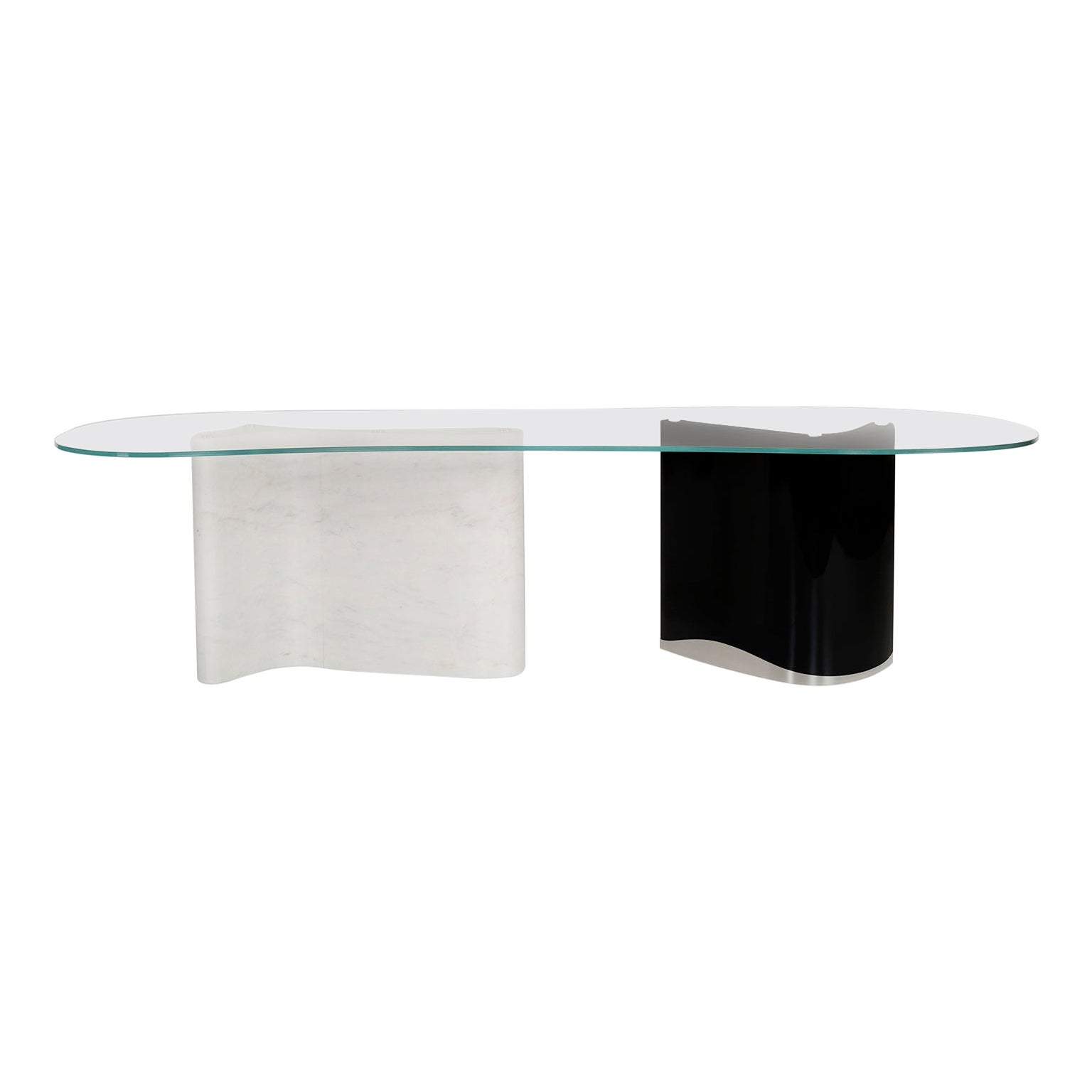 Windy 10-Seat Dining Table Glass Top Calacatta Bianco Stainless Black Lacquered