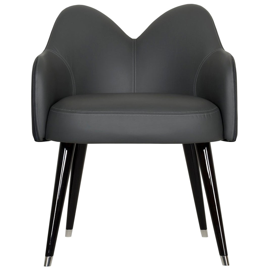 Mary Chair with Armrests Black Leather Black Beech Polished Stainless Steel