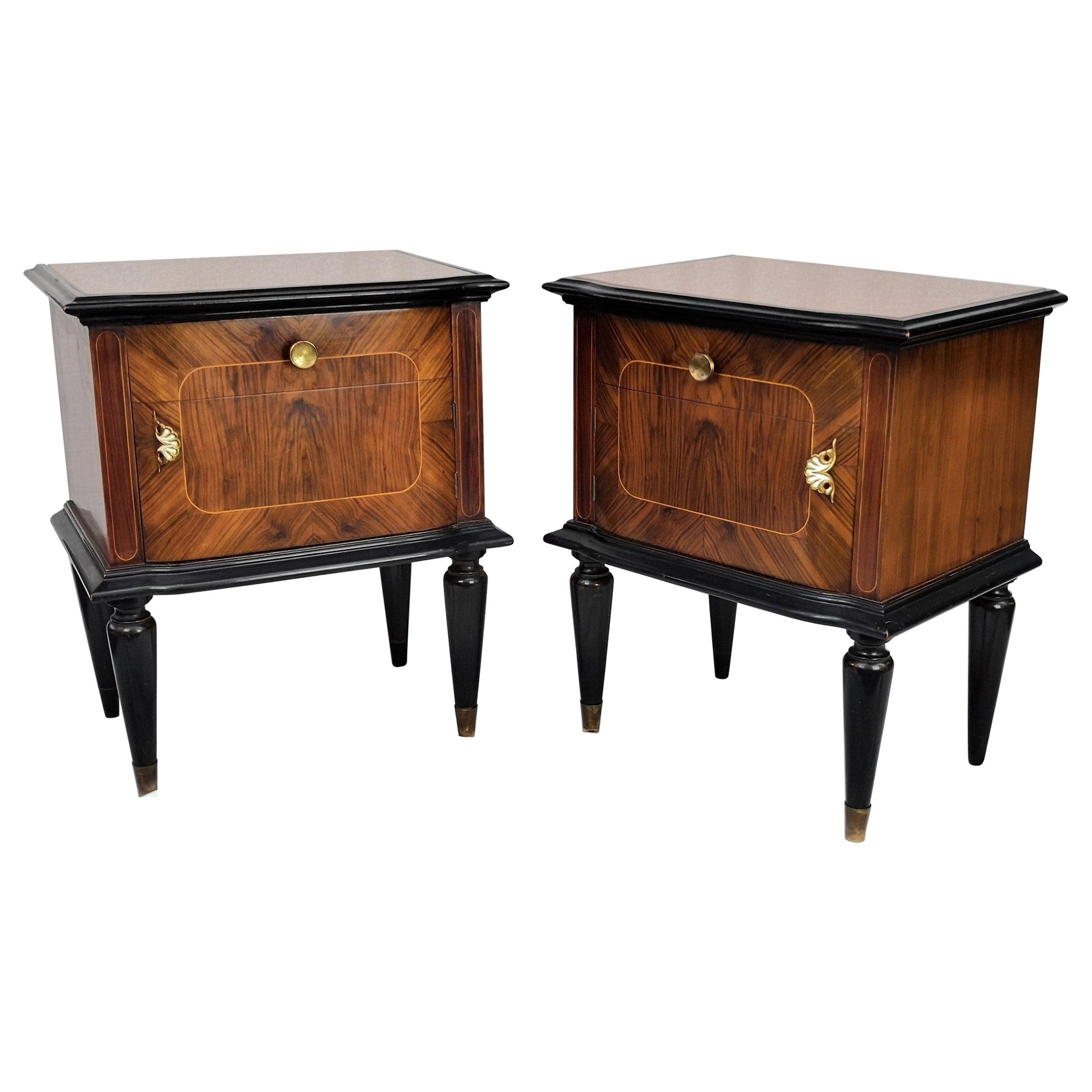 Pair of Midcentury Italian Art Deco Nightstands Bedside Tables Wood Brass Glass
