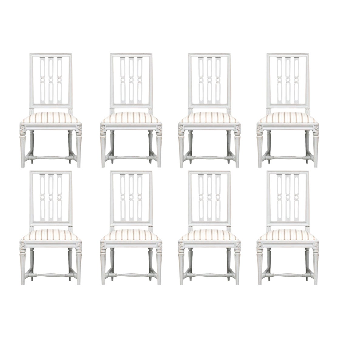 Fine Set of Eight Gustavian Style Painted Dining Chairs