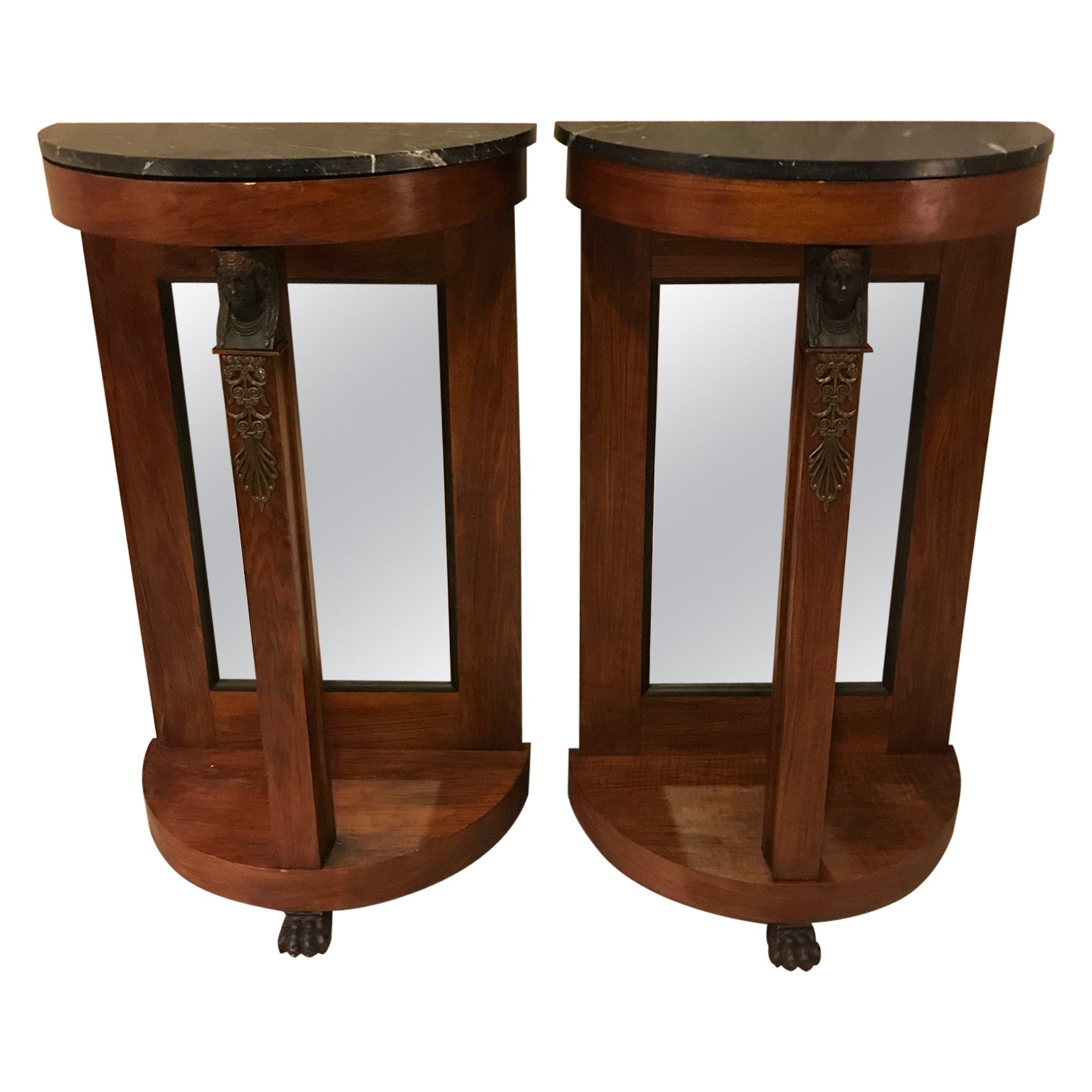 Early 19th Century Mahogany French Empire Style Pair of Demilune Console, 1920s