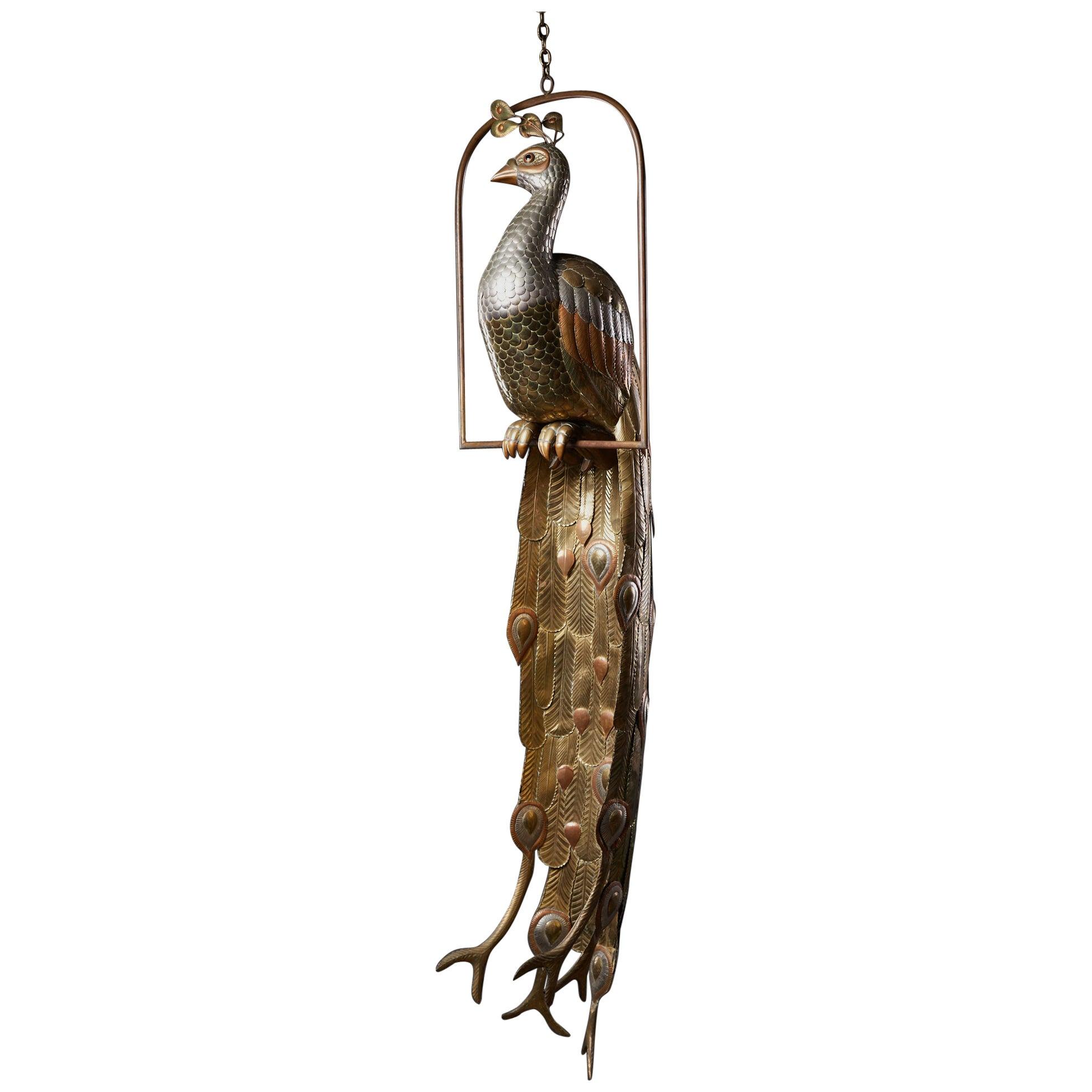Brass Peacock Sculpture by Sergio Bustamante