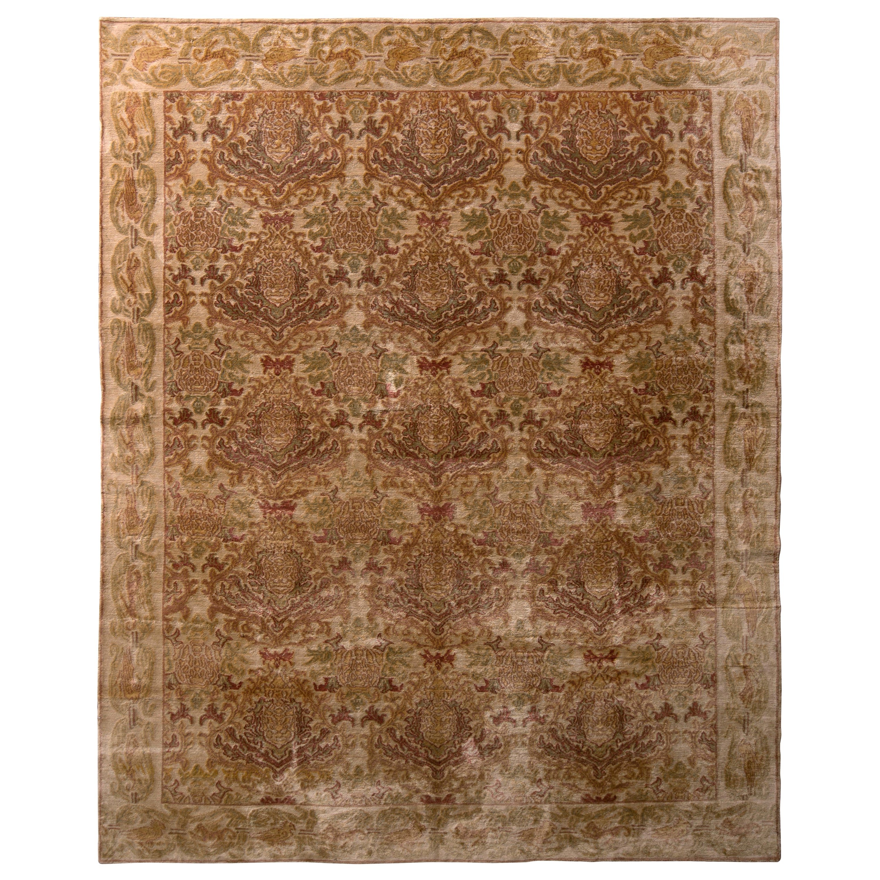 Hand Knotted European Style Rug Beige Brown Pink Floral Pattern by Rug & Kilim
