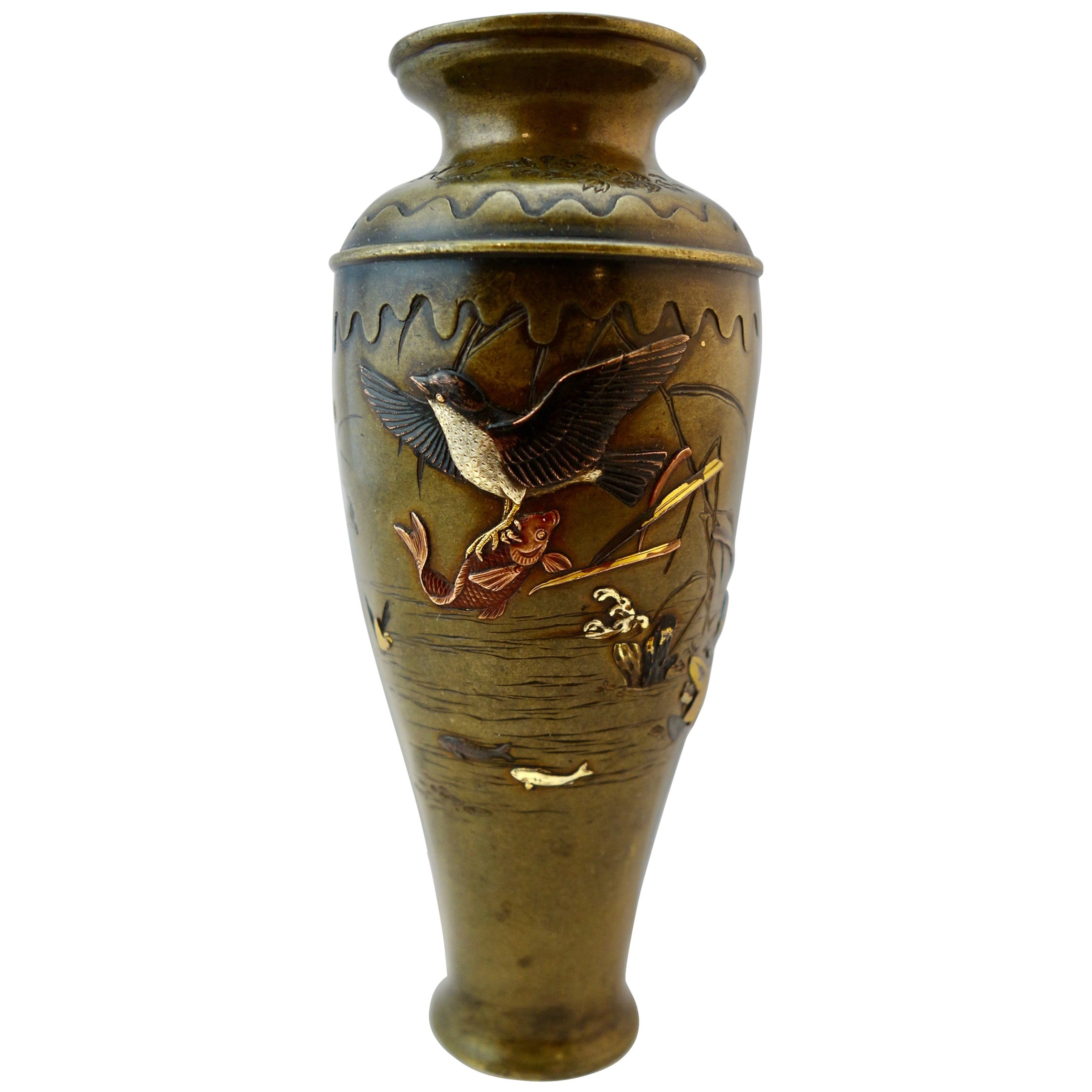 Japanese Mixed Metal Shakudo Vase Meiji Period