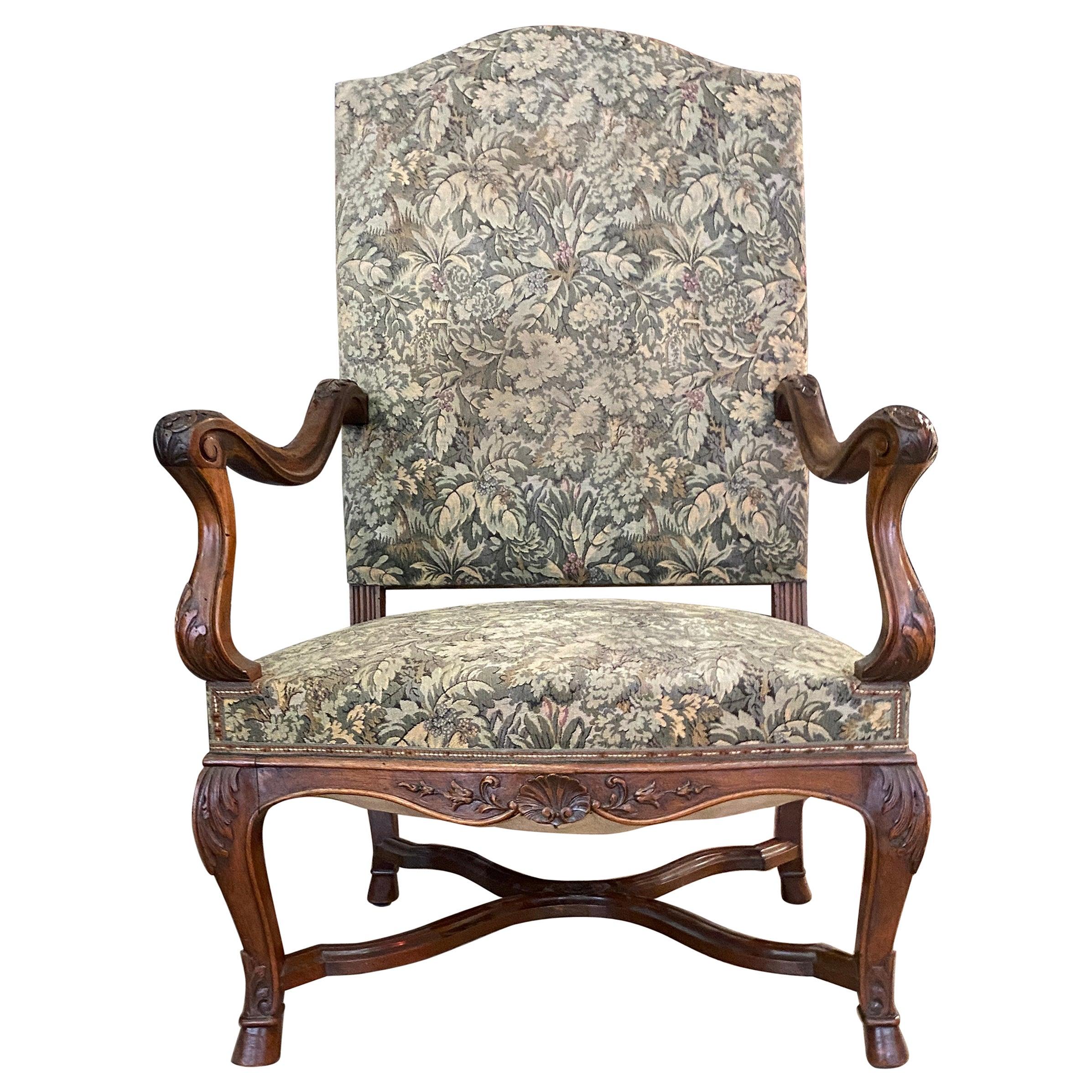 Large Louis XIV, Regency, Style Armchair, 19th Century