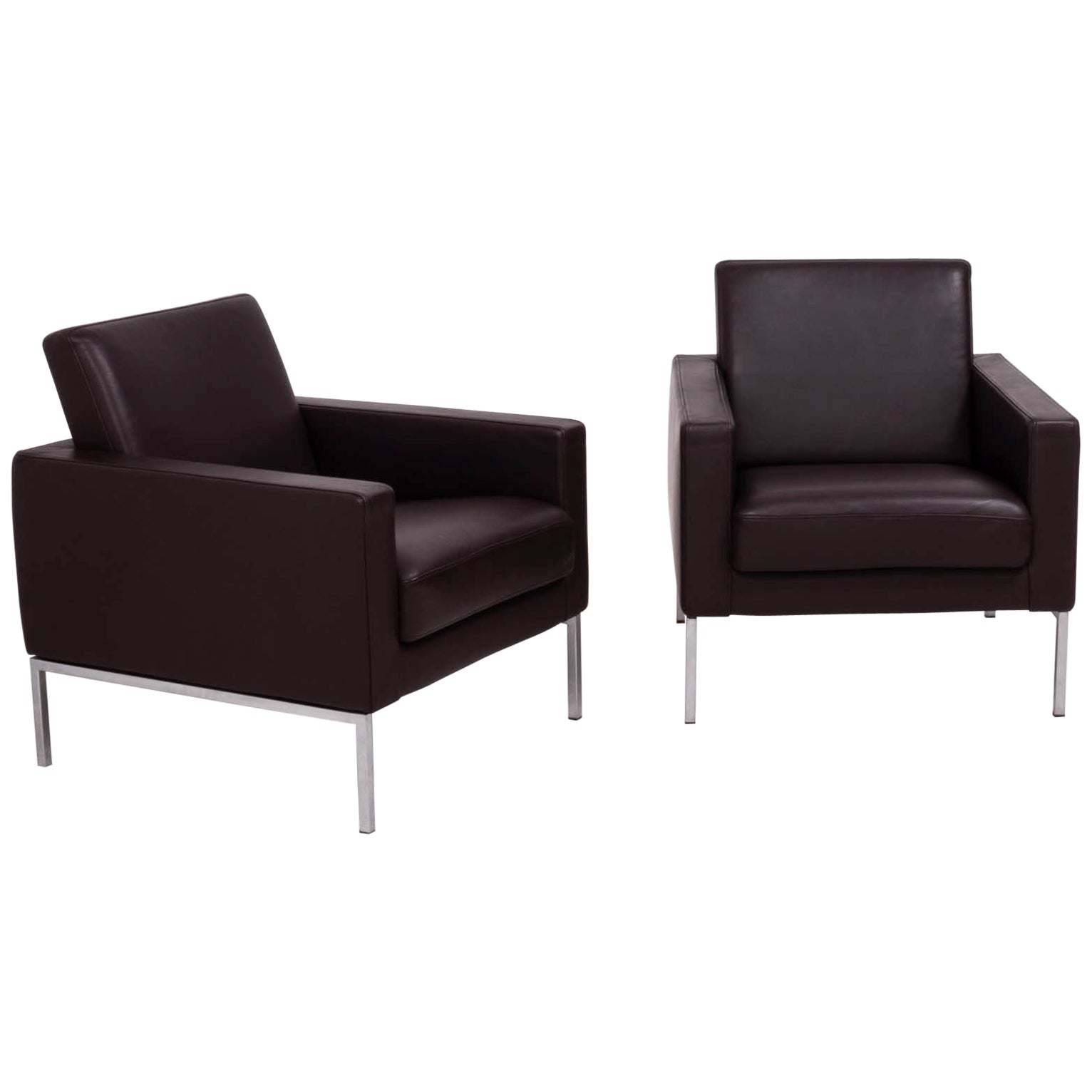 Pair of Walter Knoll Brown Leather Armchairs