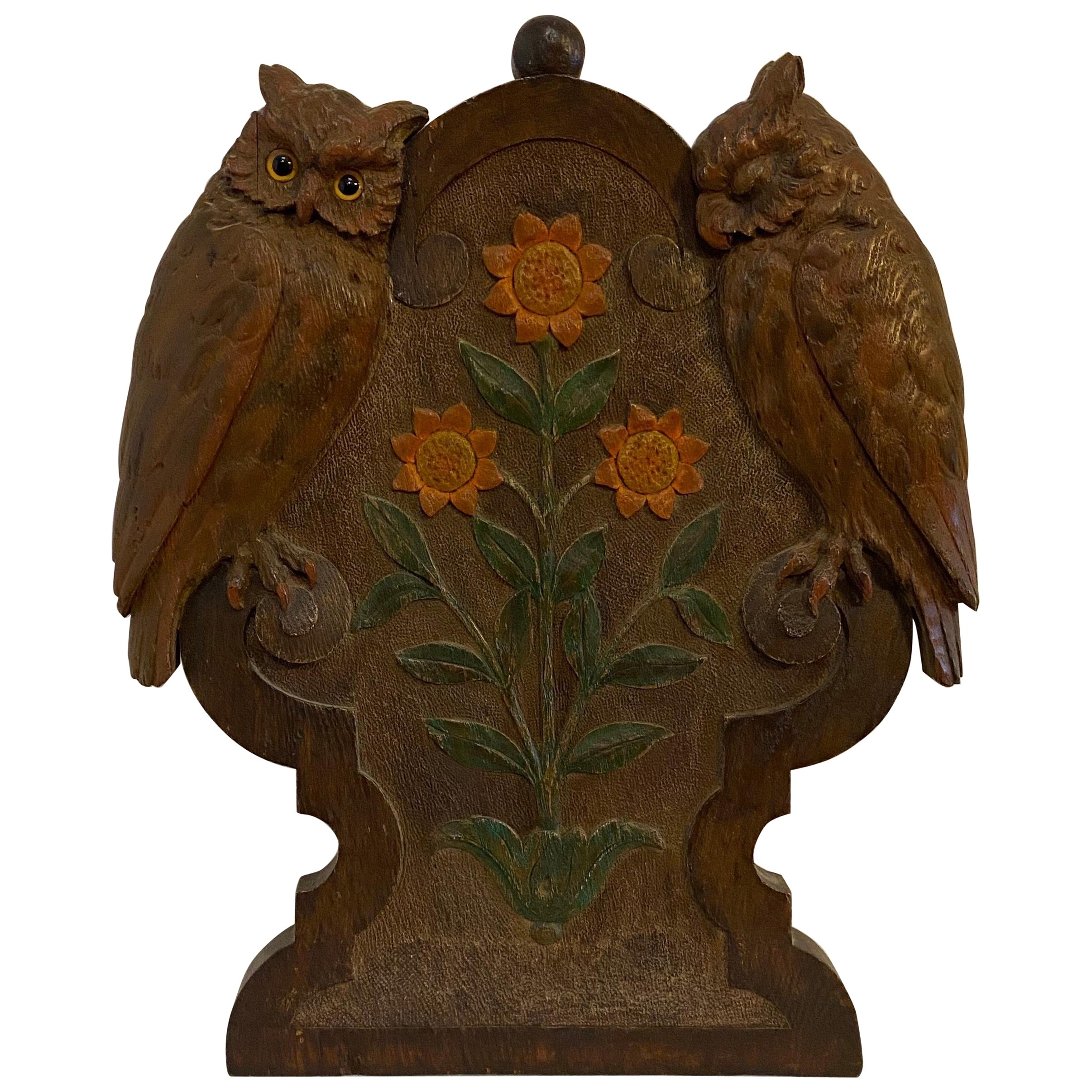 Early 20th Century Carved Folk Art Plaque of Owls and Sunflowers