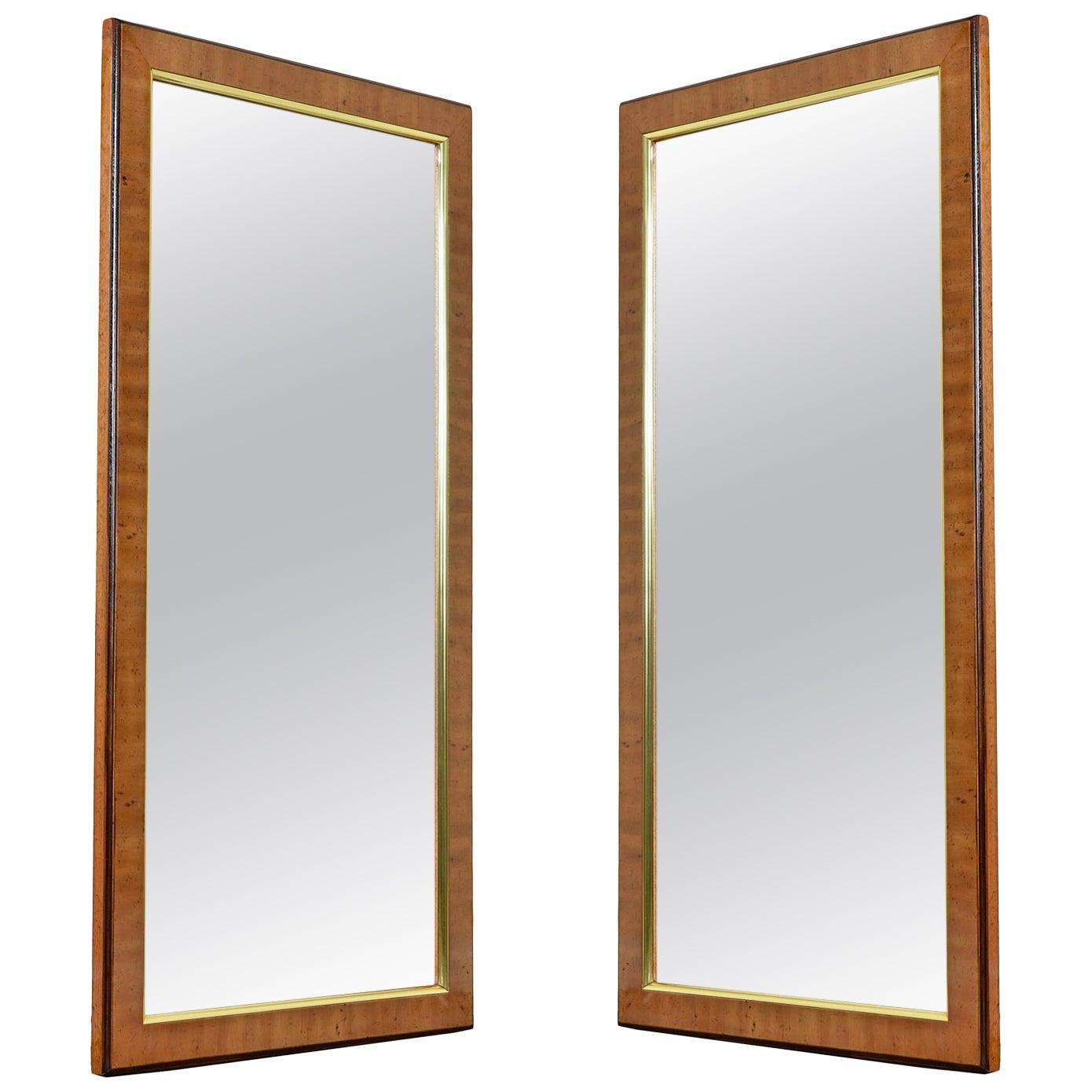 Hollywood Regency Burl Wood and Brass Drexel Heritage Avenues Mirror Set