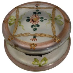 French Hand-Painted Lidded Candy Dish, Trinket or Jewelry Box