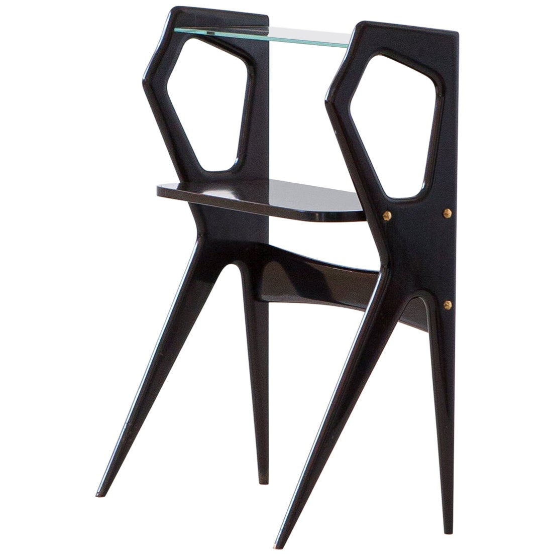 1950s Italian Modernist Lacquered Wood Side Table