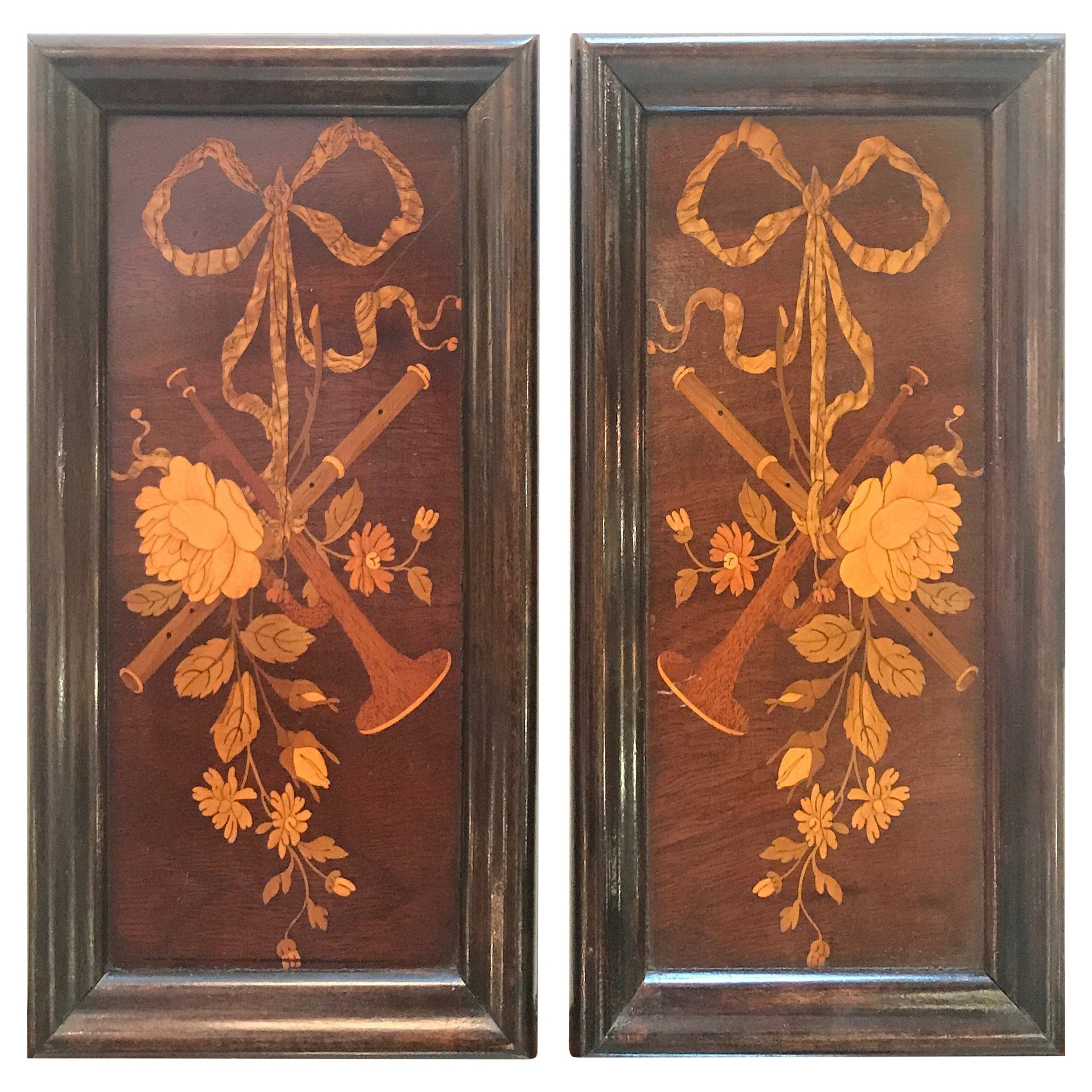19th Century Diminutive Inlaid Wood Framed Panels
