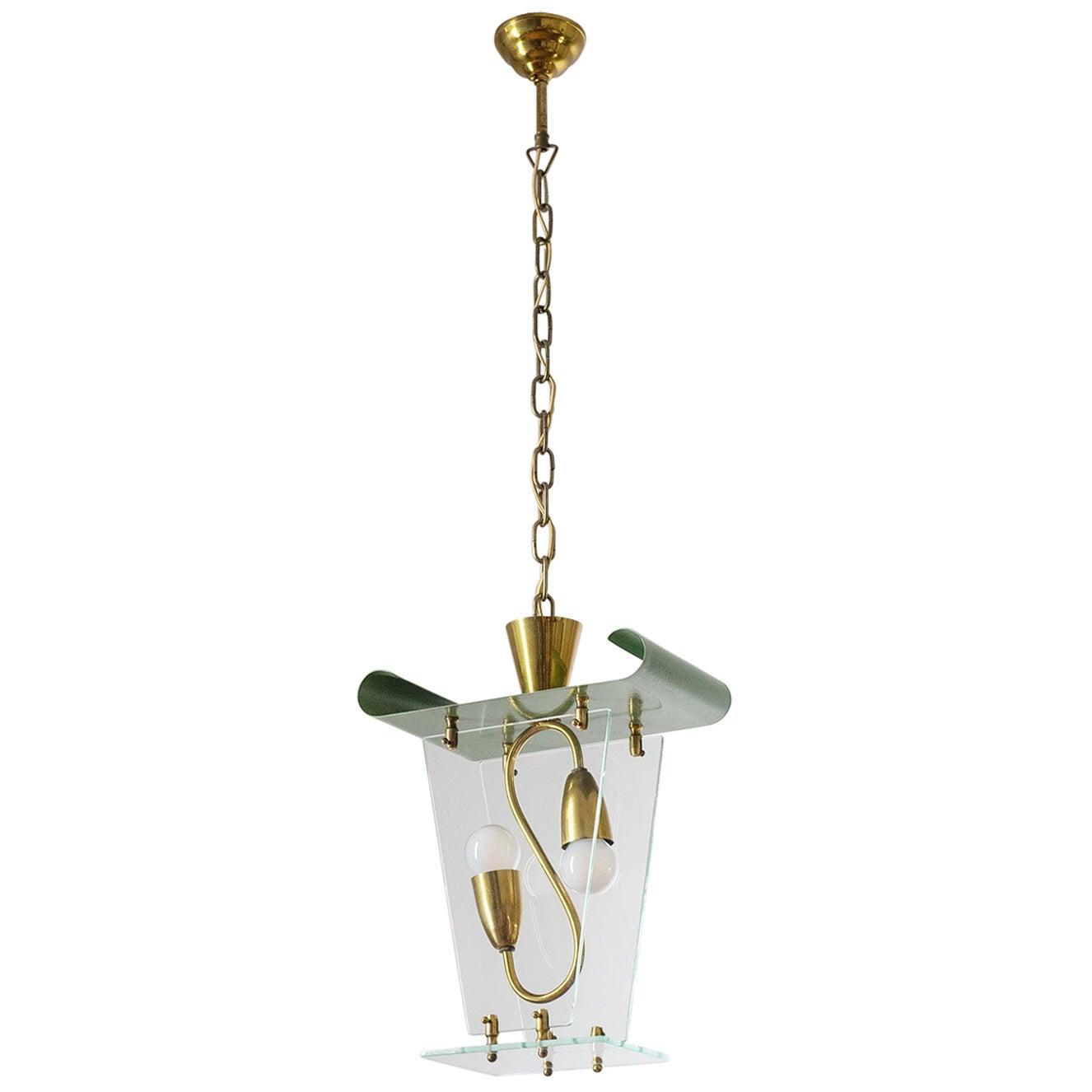 Italian Lantern, 1940s, Brass and Glass