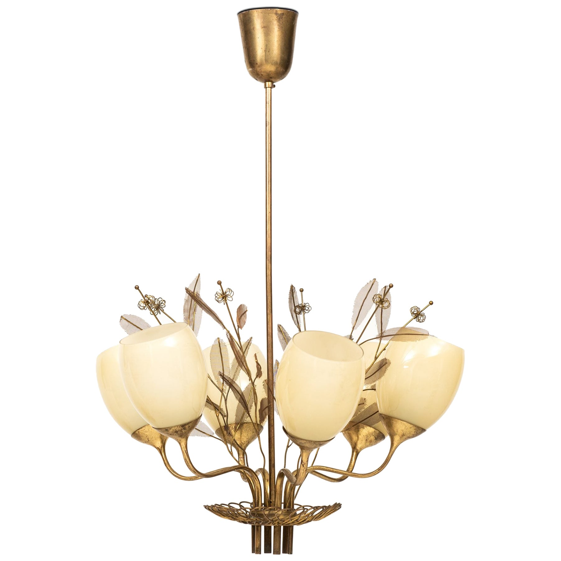Paavo Tynell Ceiling Lamp Model 9020/6 Produced by Taito Oy in Finland
