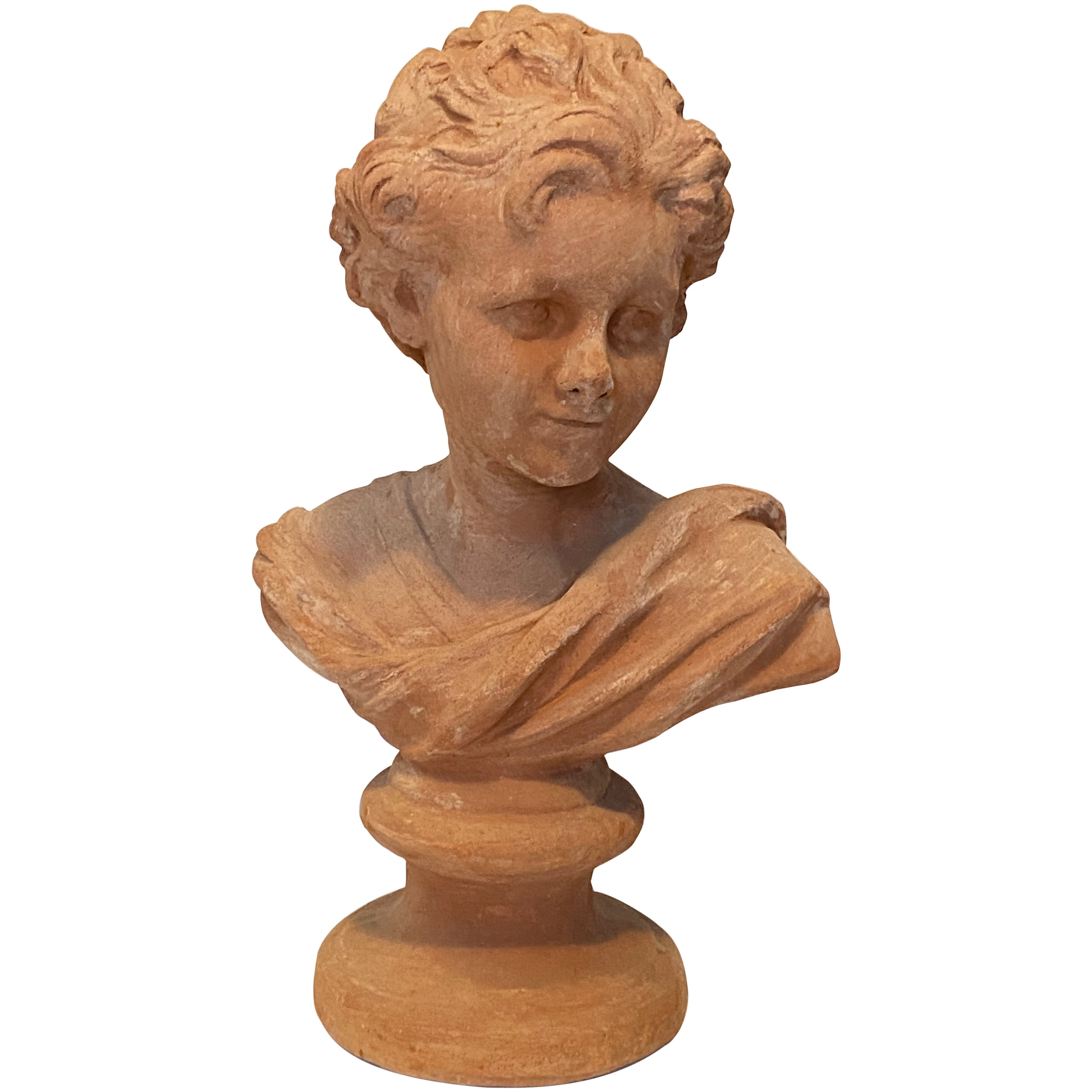 20th Century Terracotta Bust of Italian Nobility, Italy Vintage