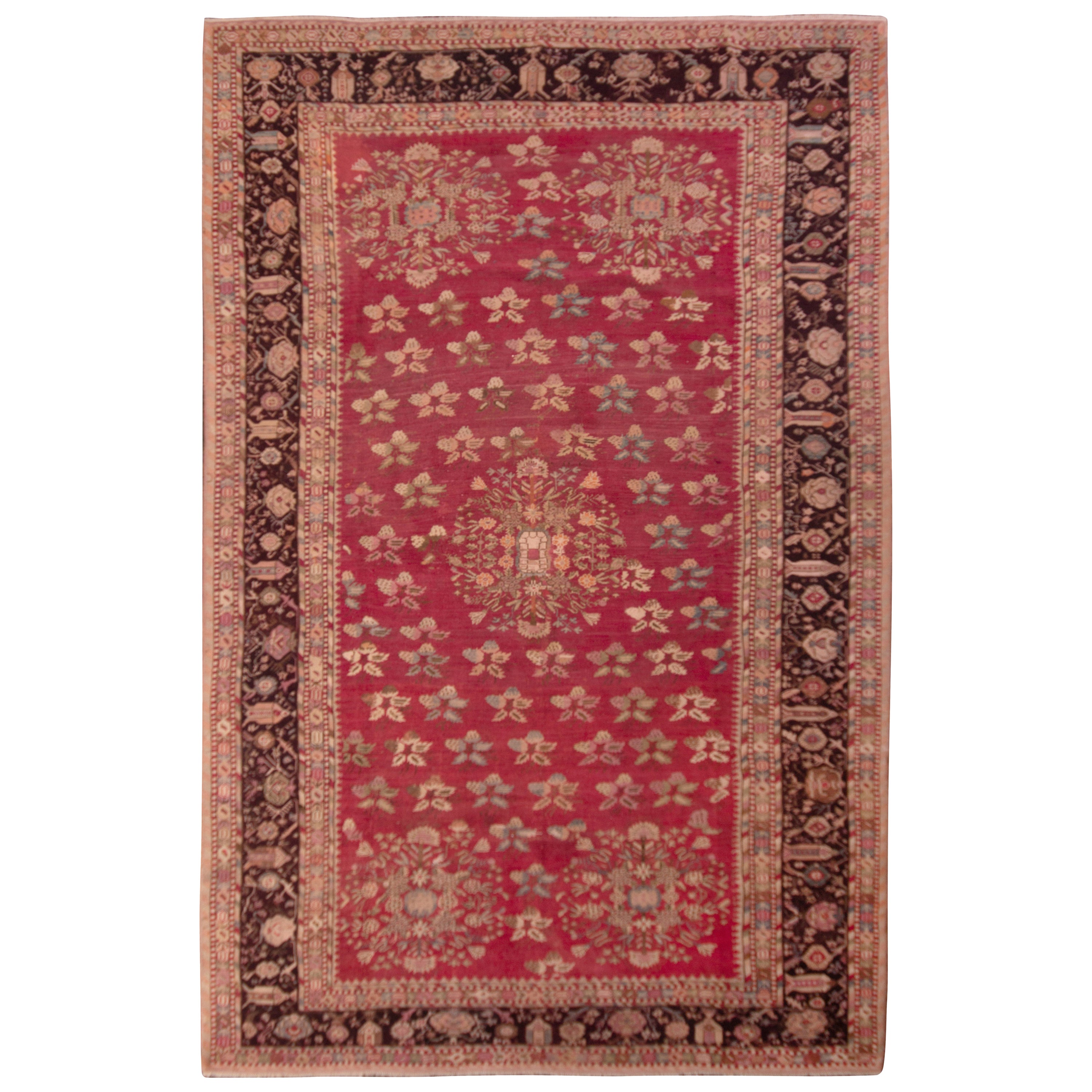 Hand Knotted Antique Gordes Rug Red and Beige Floral Pattern