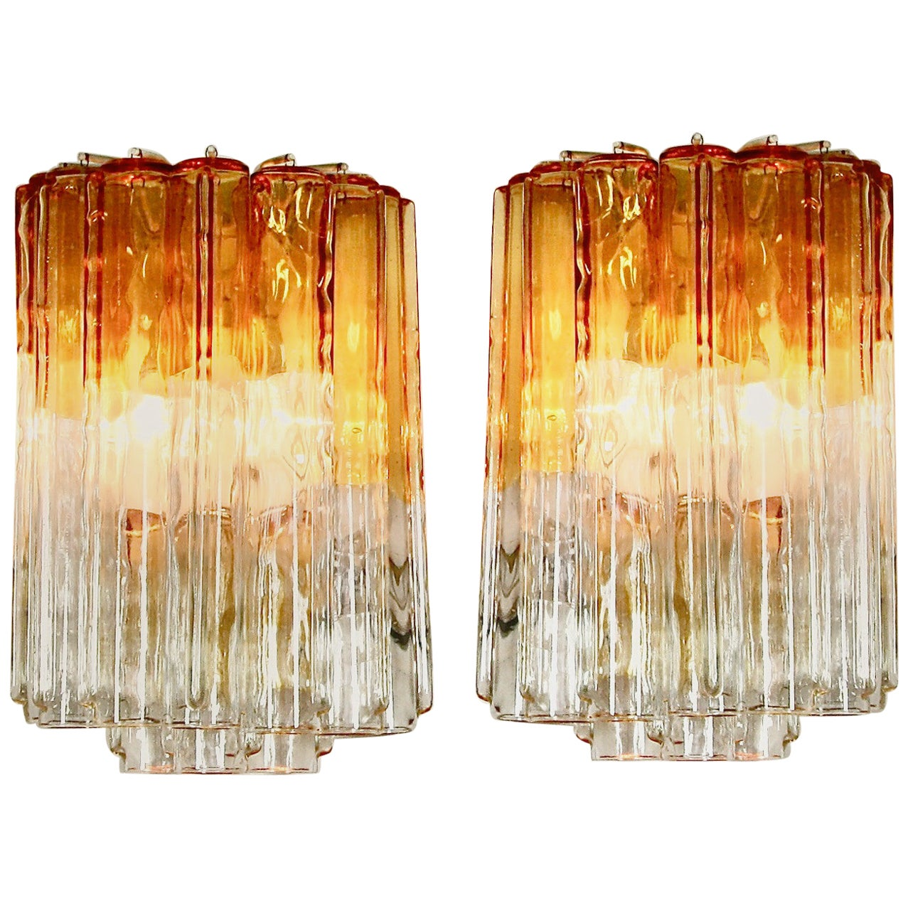 Pair of Original Wall Sconces by Venini, Italy, 1960s