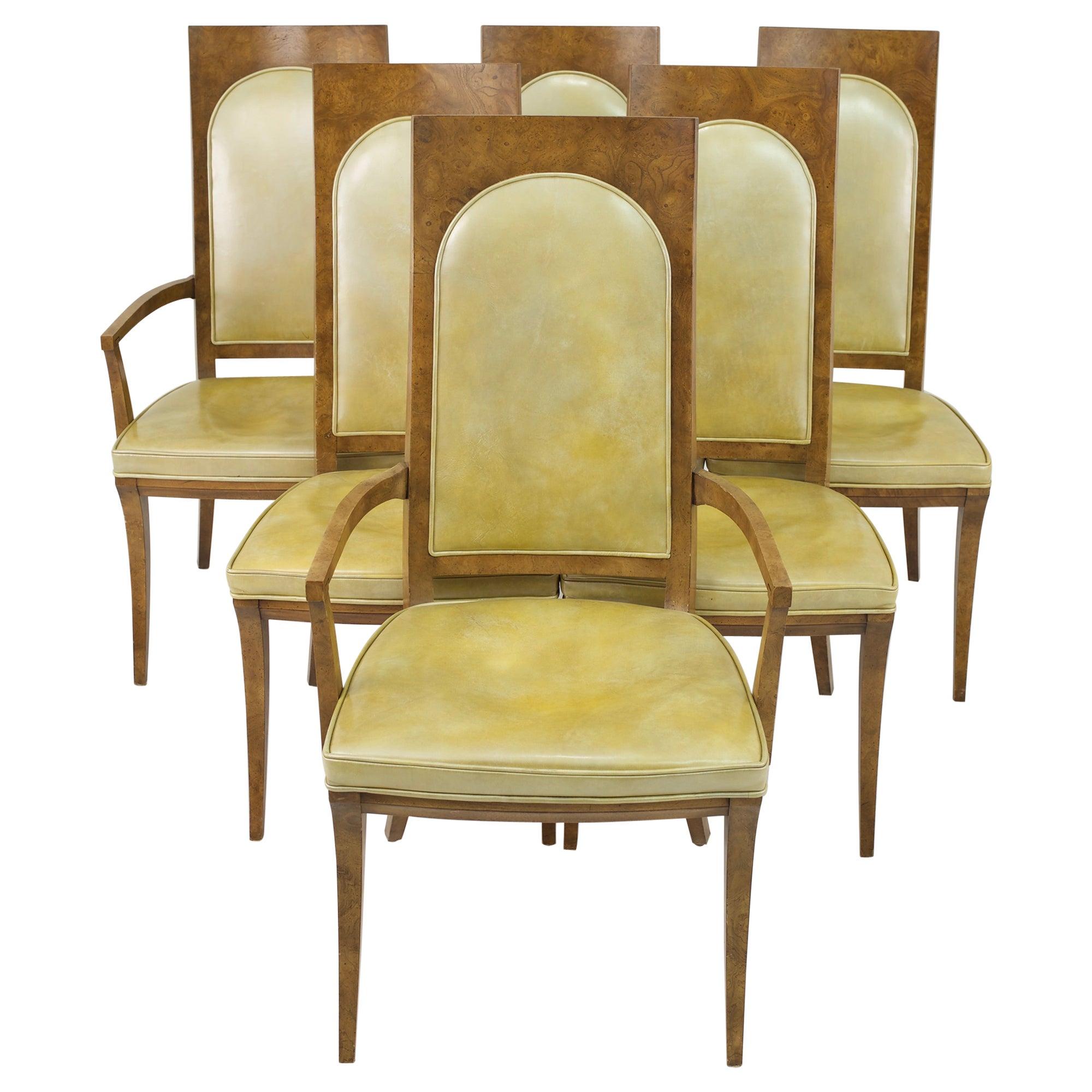 Mastercraft Mid Century Burlwood Dining Chairs - Set of 6