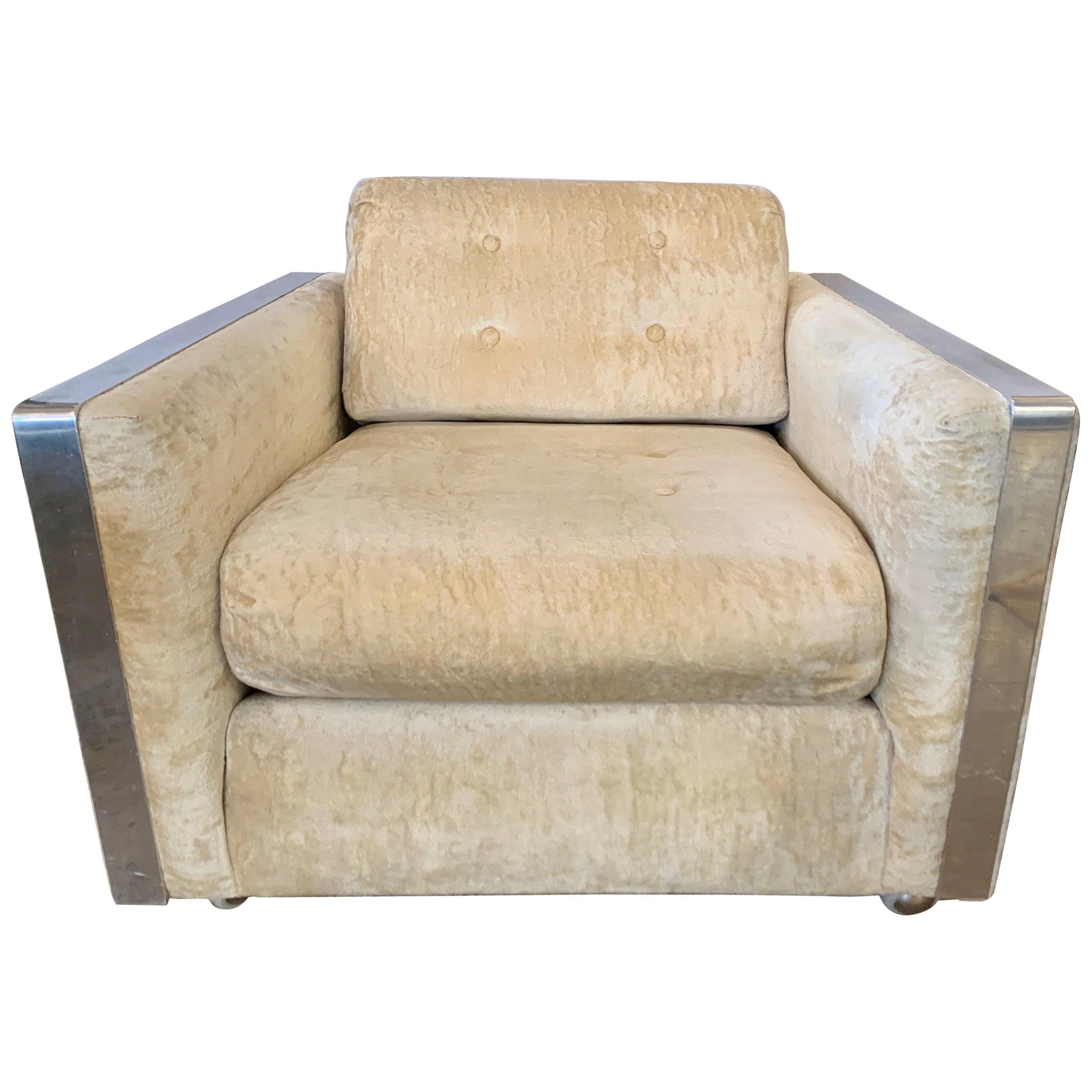 Mid-Century Modern Cubist Chrome and Velvet Fabric Lounge Chair