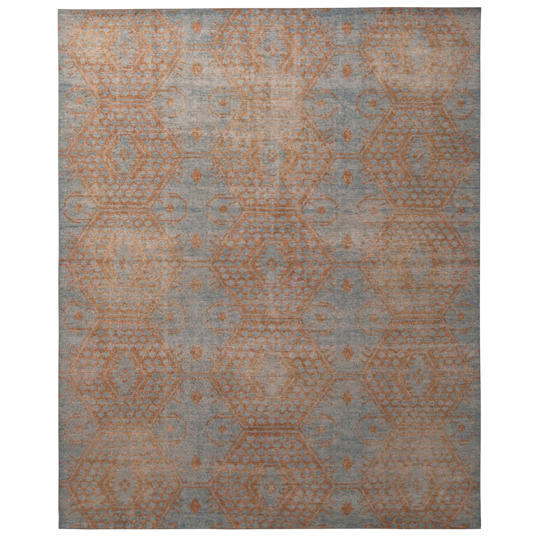 Rug & Kilim's Homage Geometric Brown and Blue Wool Custom Rug