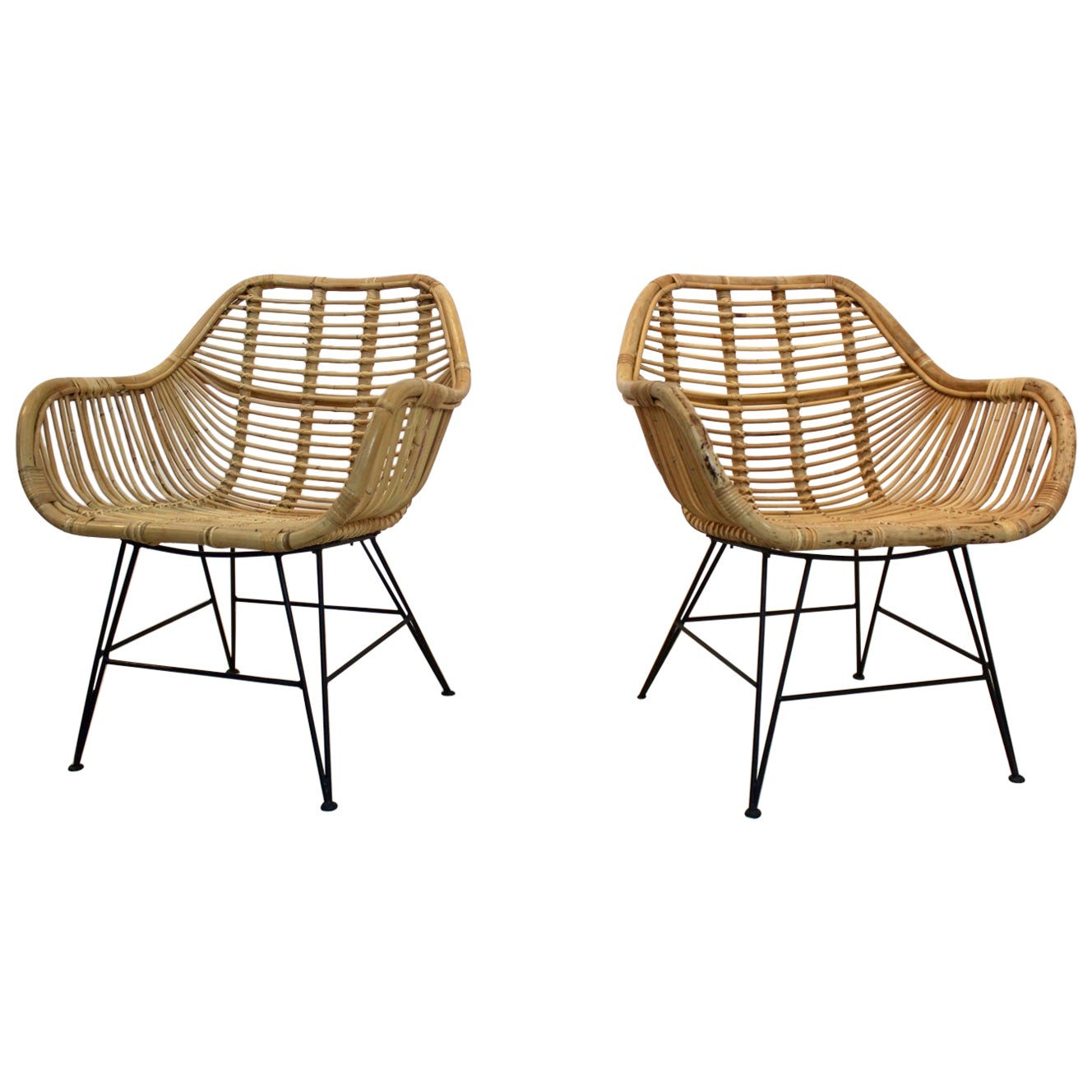 Gorgeous Dutch Wicker and Steel Chairs