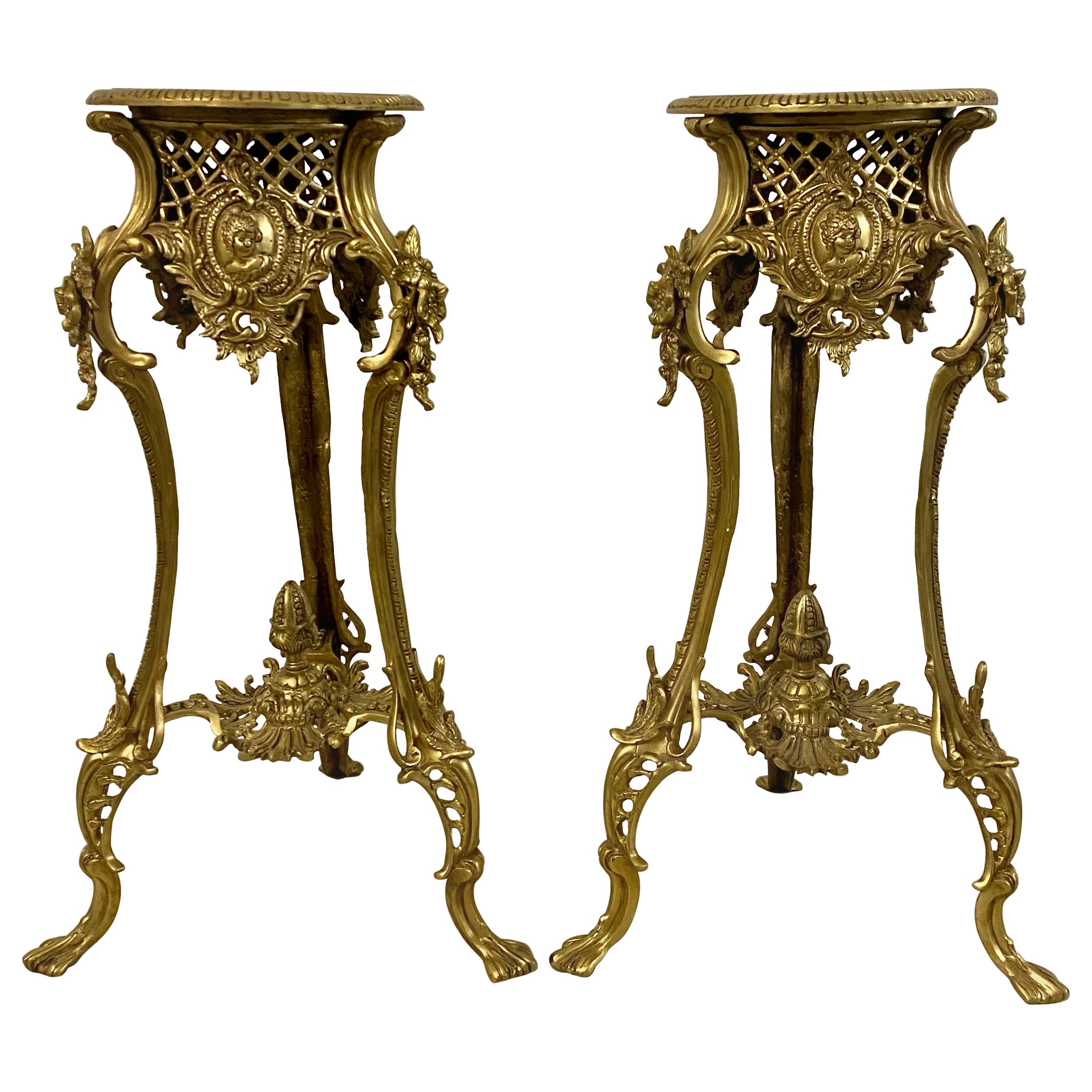 Pair of Vintage Gilded Bronze Side Tables with Inlay, circa 1940