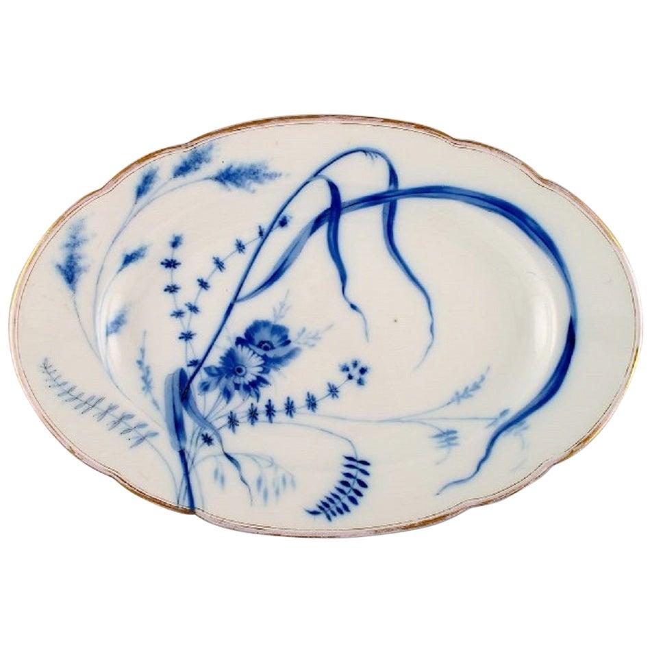 Fischer & Mieg, Pirkenhammer, Large Antique Dish in Hand Painted Porcelain