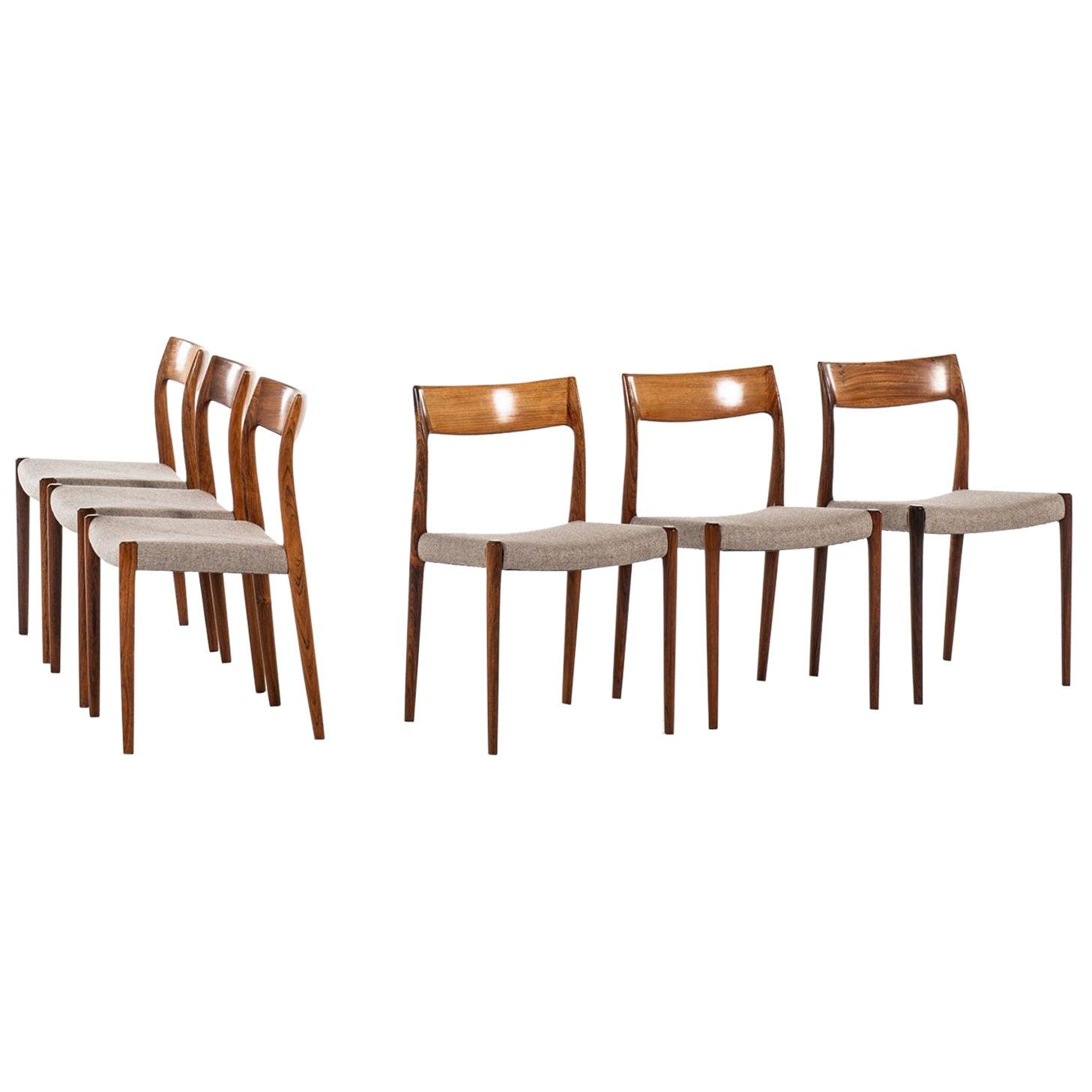 Niels O. Møller Dining Chairs Model 77 by J.L. Møllers Møbelfabrik in Denmark