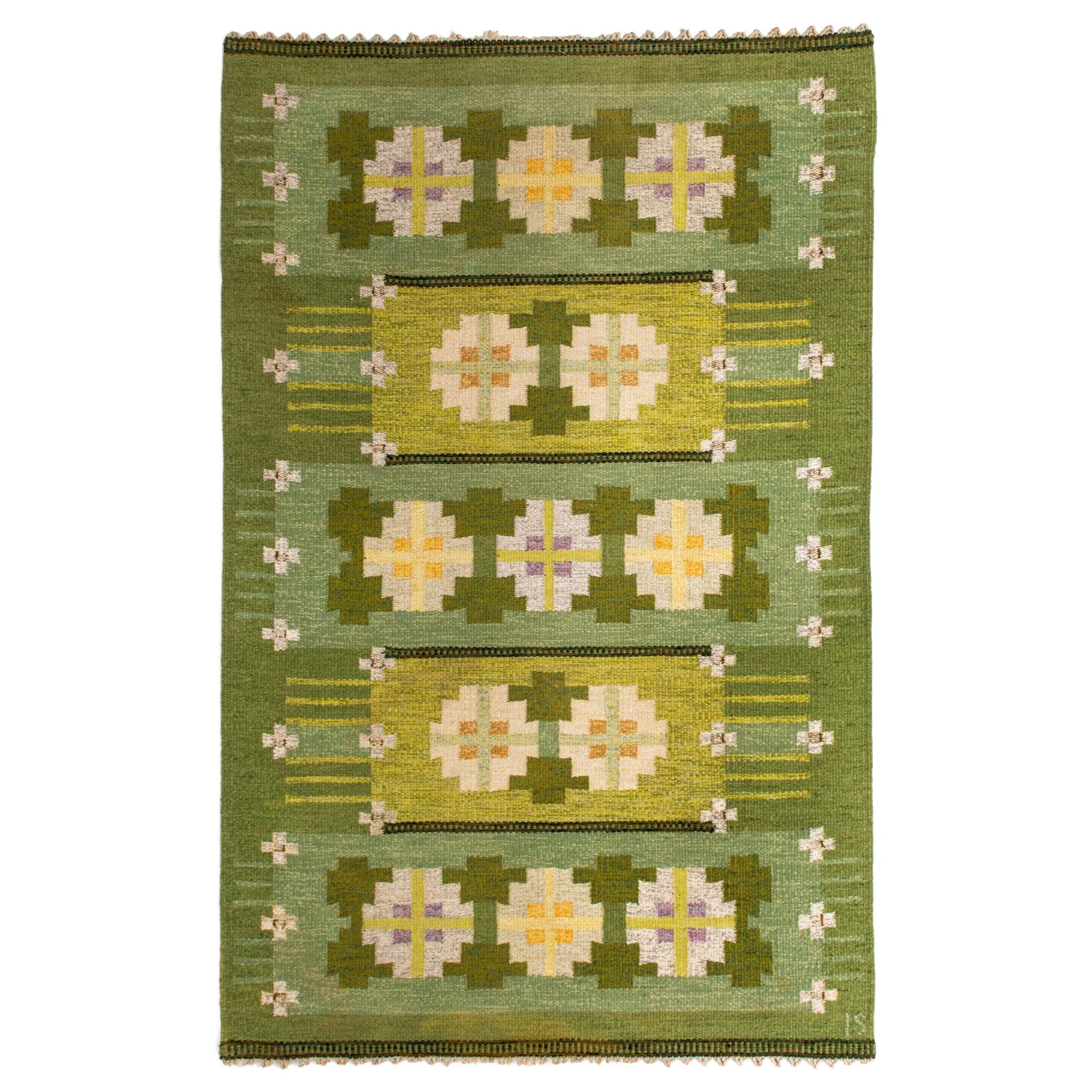 Ingegerd Silow Flat-Weave Carpet Produced in Sweden