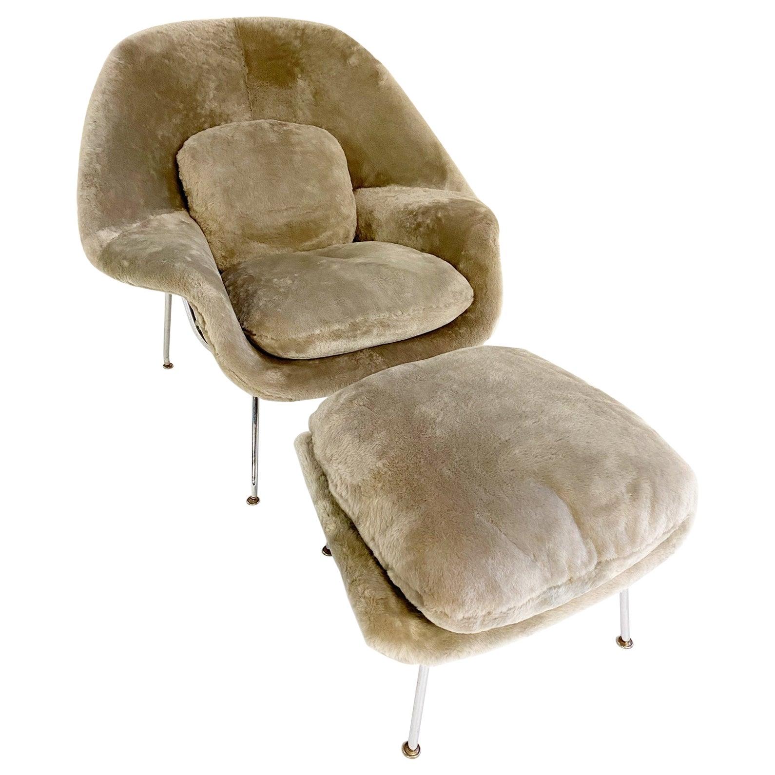 Bespoke Eero Saarinen Womb Chair and Ottoman in Shearling