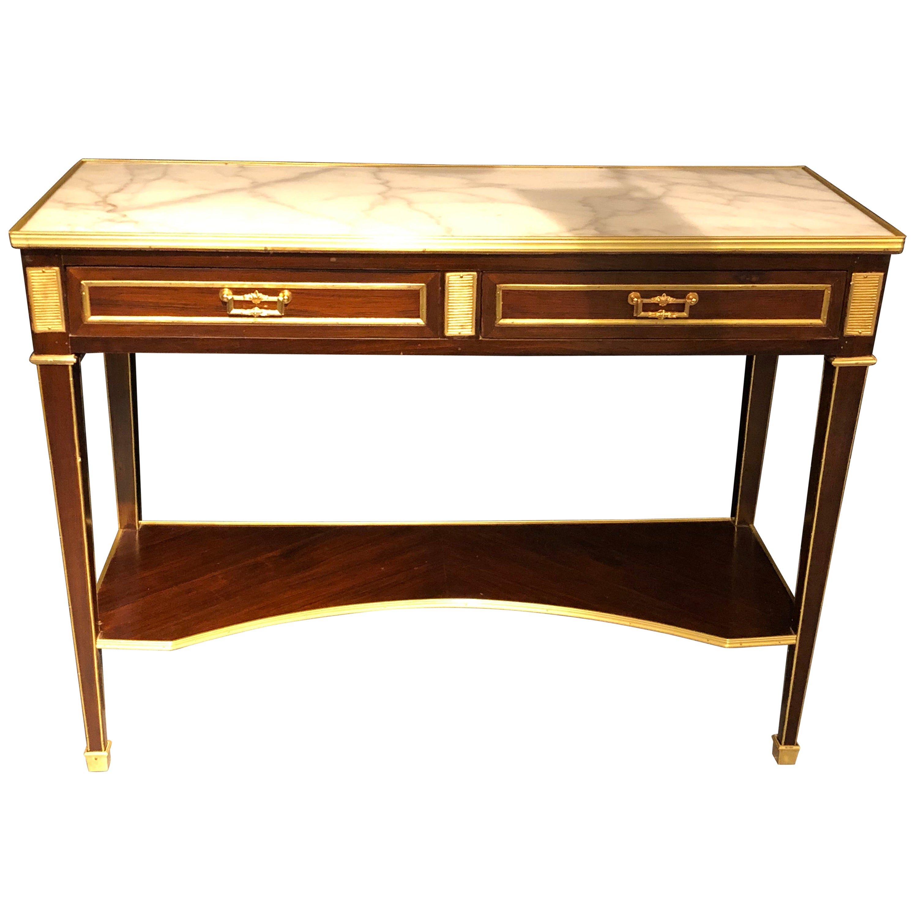 Jansen Style Two-Drawer Marble-Top Bronze Console or Serving Table