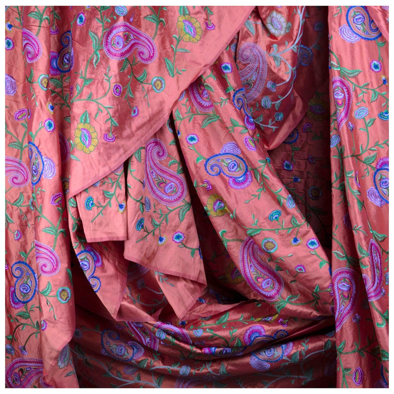 Coral Gujarati Fine Satin Weave, Brilliant Embroidered Paisley Silk, Ari Work