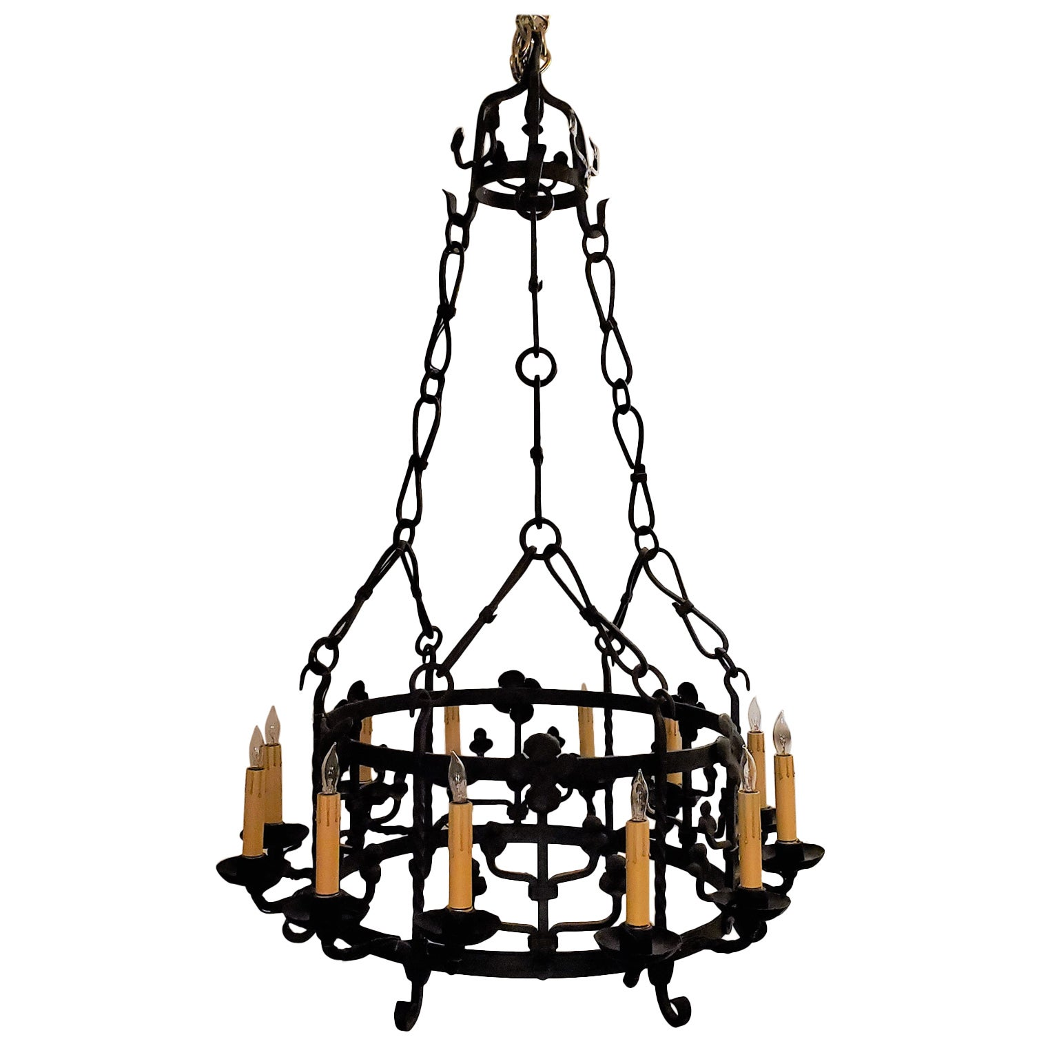 Antique French 12-Light Wrought Iron Chandelier