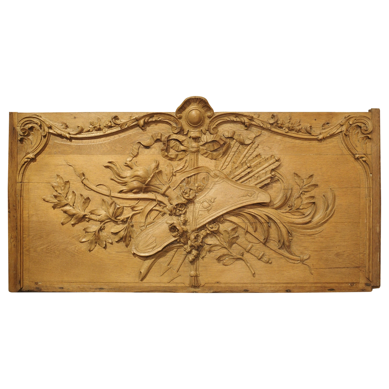 Magnificent Bas Relief French over Door in Oak, circa 1750